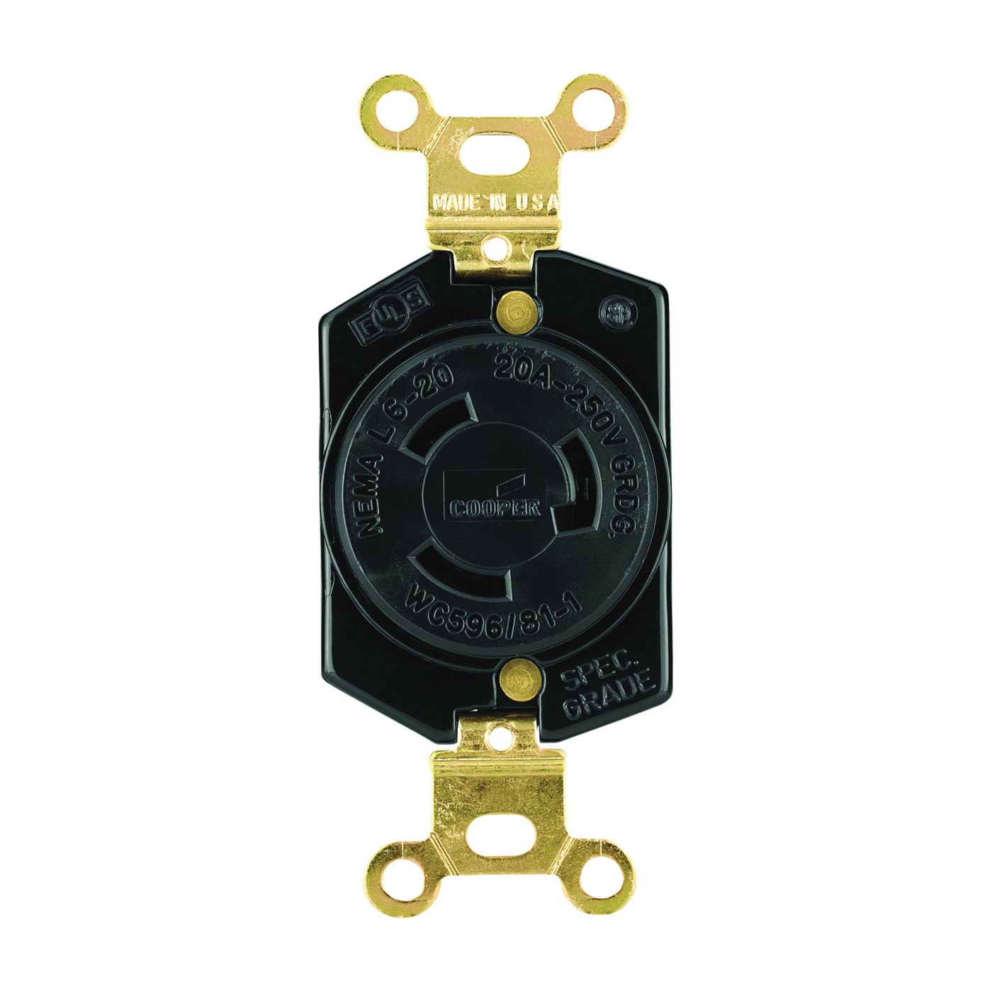 Picture of Eaton Wiring Devices L620R Single Receptacle, 2-Pole, 250 V, 20 A, Back, Side Wiring, NEMA L6-20, Black