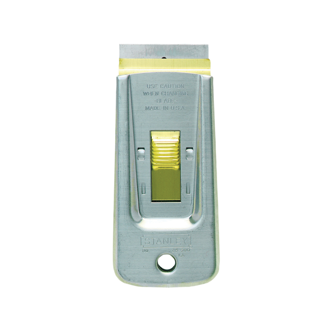 Picture of STANLEY 28-500 Razor Blade Scraper, 1-1/2 in W Blade, Single-Edge Blade, HCS Blade, Steel Handle, Ergonomic Handle