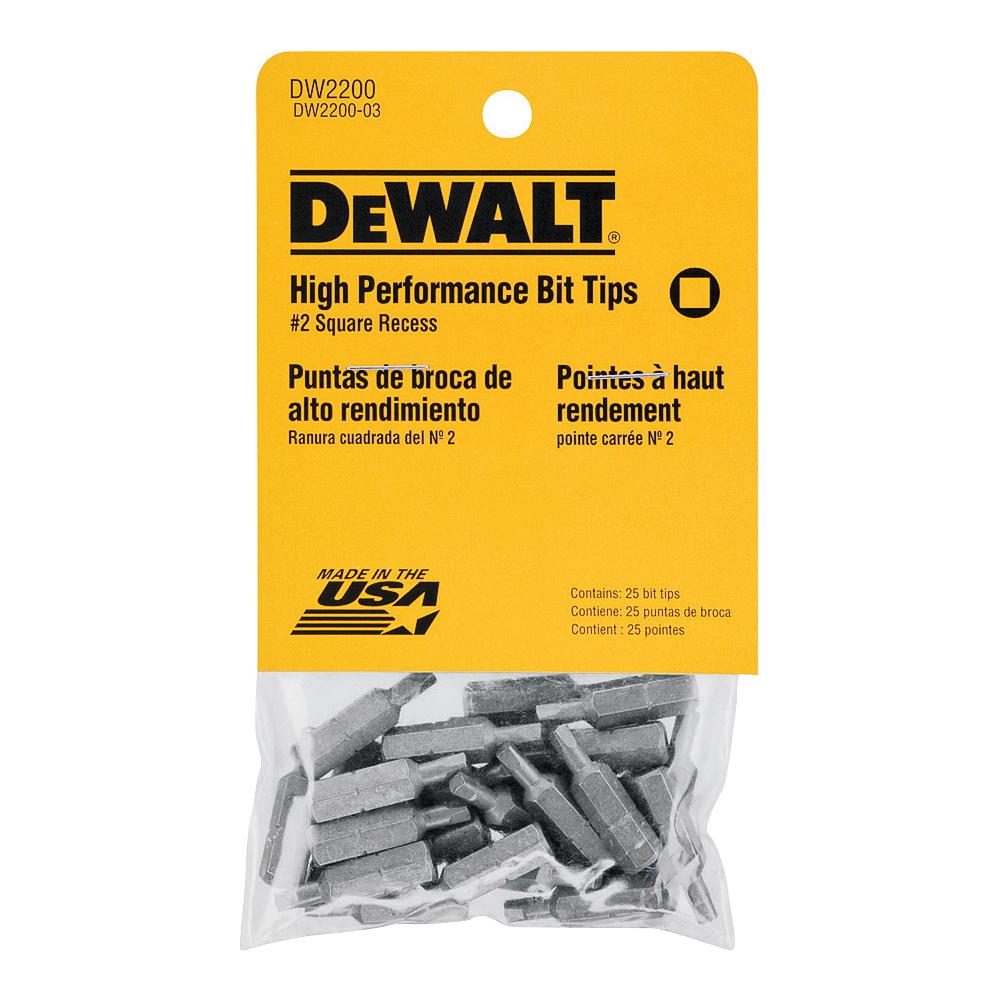 Picture of DeWALT DW2200 Screwdriver Bit, #2 Drive, Square Recess Drive, 1/4 in Shank, Hex Shank, 1 in L, Steel