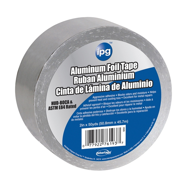 Picture of IPG 9202-B Foil Tape with Liner, 50 yd L, 2 in W, Aluminum Backing