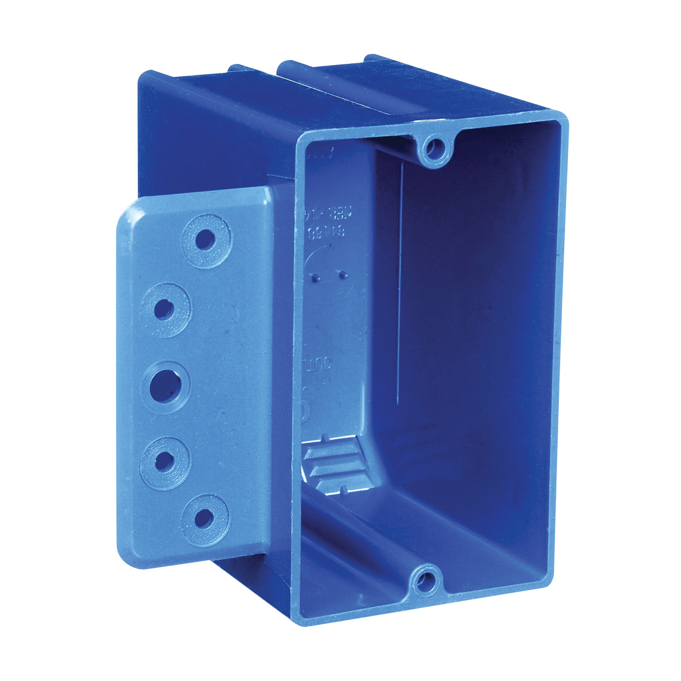 Picture of Carlon B118B-UPC Outlet Box with Bracket, 1-Gang, 4-Knockout, PVC, Blue, Bracket, Stud Mounting