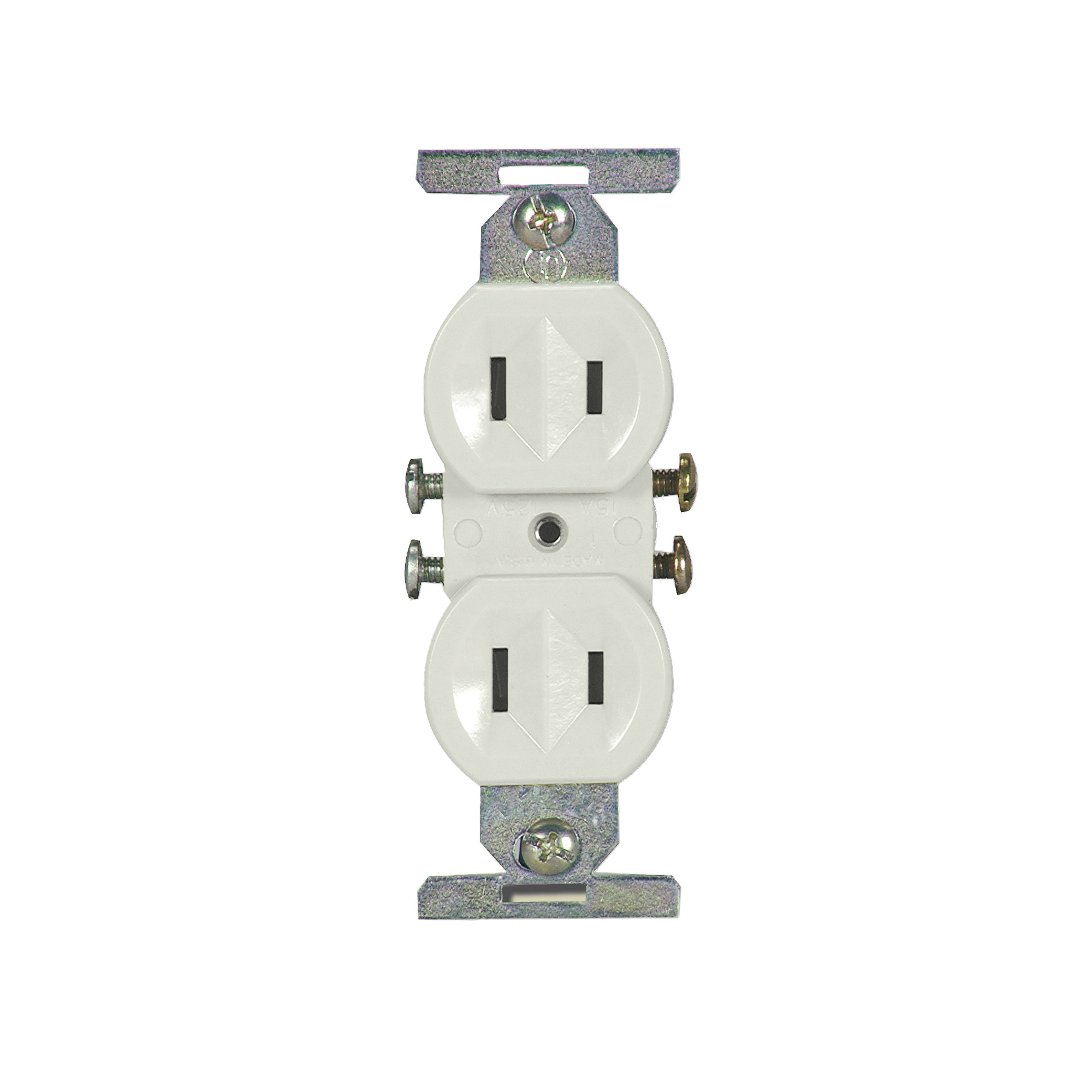 Picture of Eaton Wiring Devices 736W-BOX Duplex Receptacle, 2-Pole, 15 A, 125 V, Side Wiring, NEMA: 1-15R, White