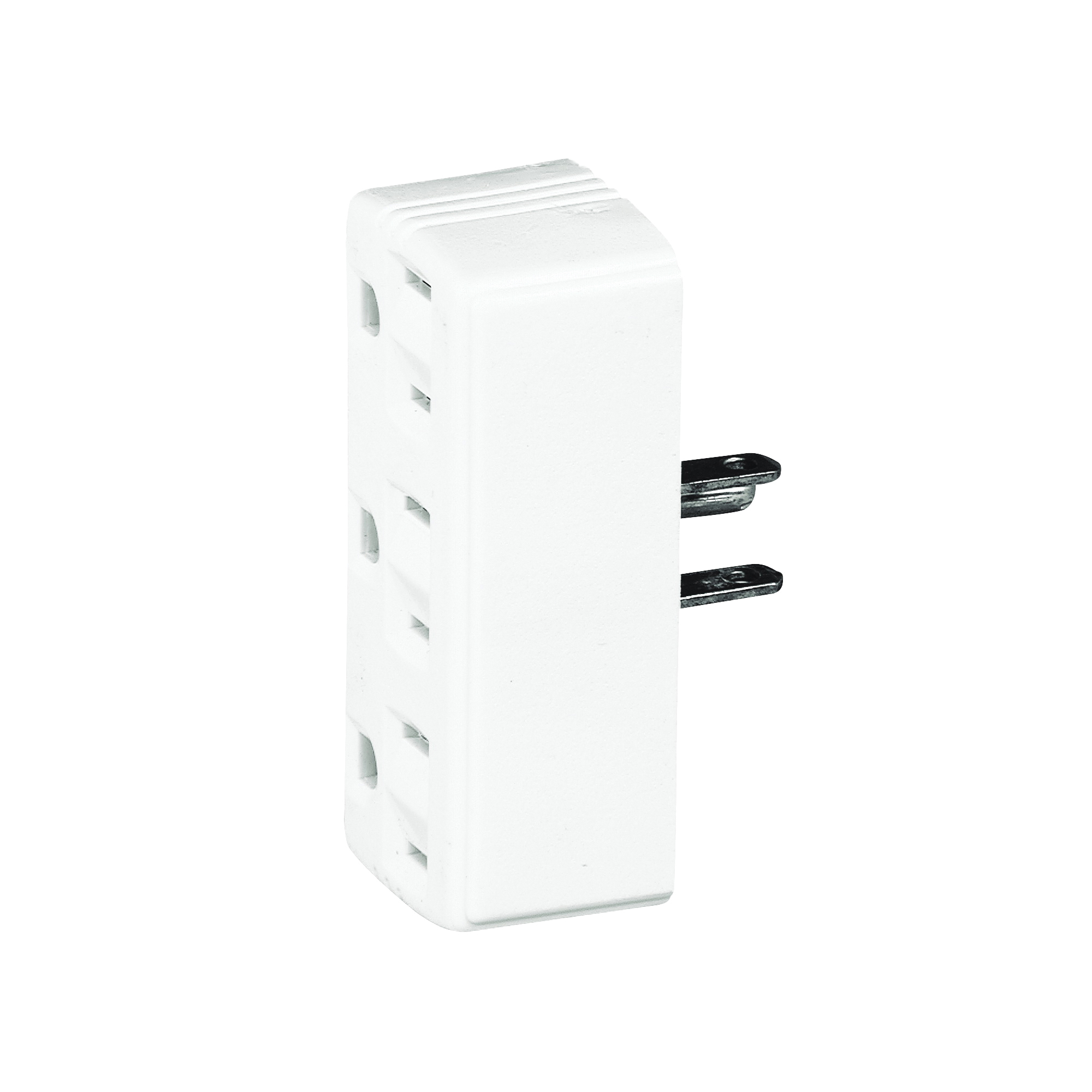 Picture of Eaton Wiring Devices 1147W-BOX Outlet Adapter, 2-Pole, 15 A, 125 V, 3-Outlet, NEMA: 5-15R, White