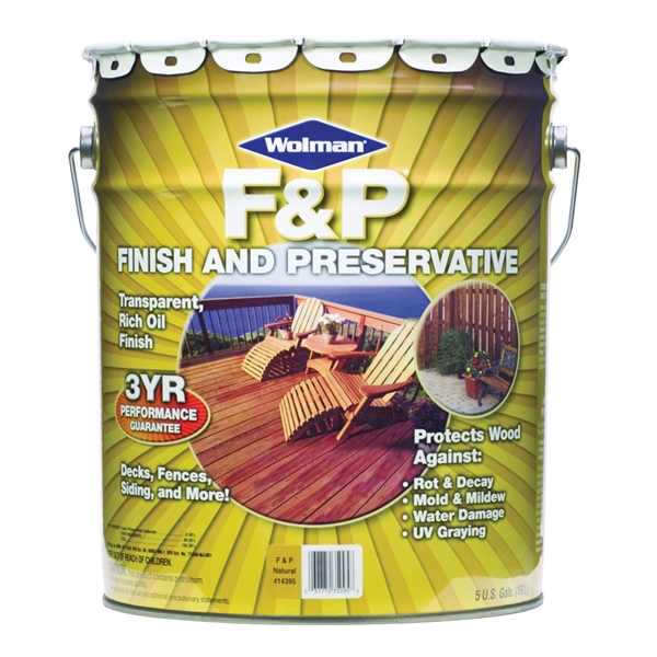 Picture of WOLMAN F&P 14395 Wood Preservative, Natural, Liquid, 5 gal, Can