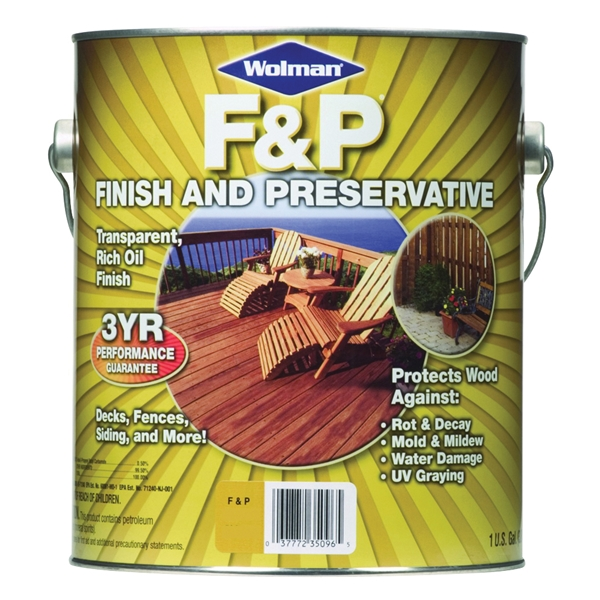 Picture of WOLMAN F&P 14396 Wood Preservative, Natural, Liquid, 1 gal, Can