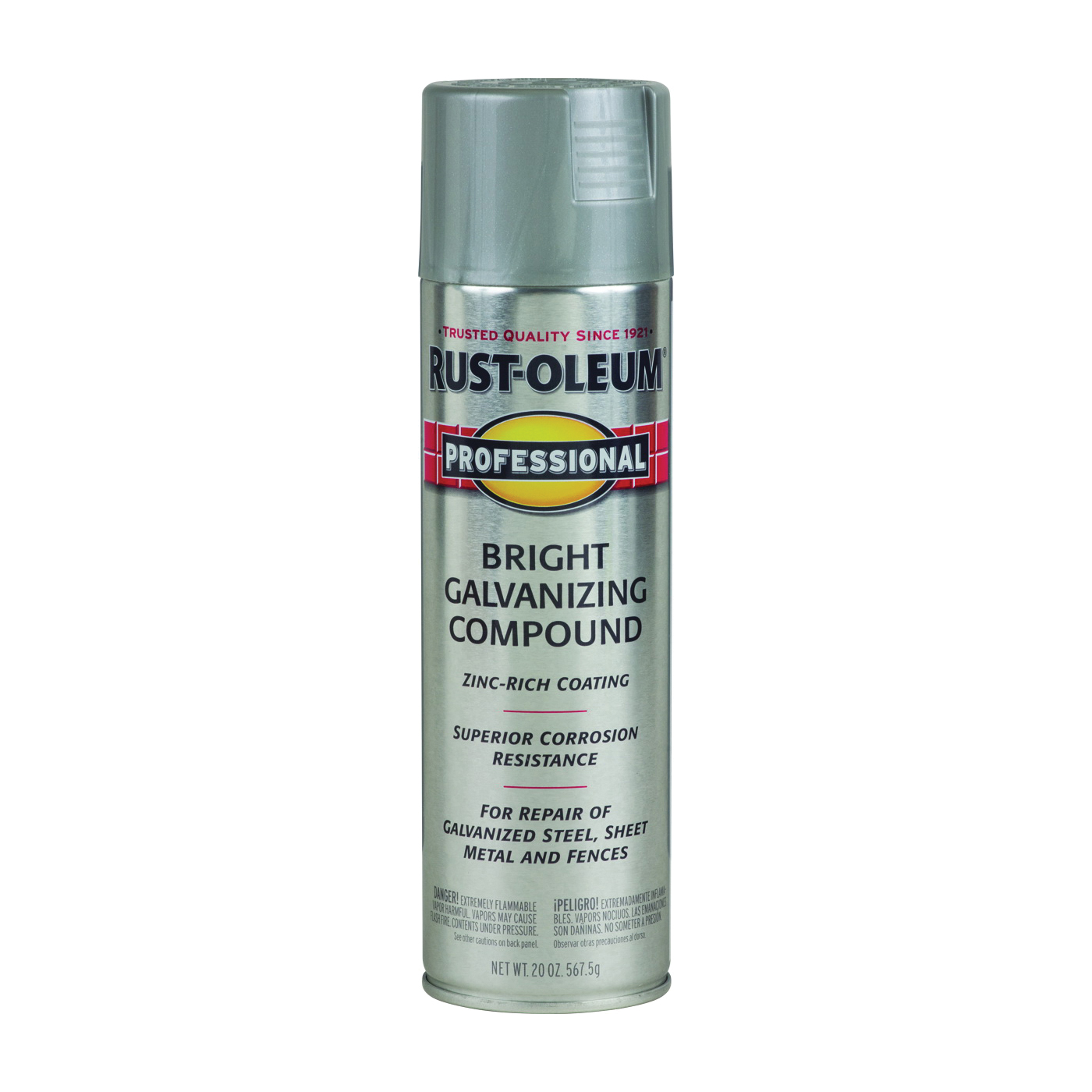 Picture of RUST-OLEUM PROFESSIONAL 7584838 Galvanizing Compound Spray Paint, Bright Gray, 20 oz