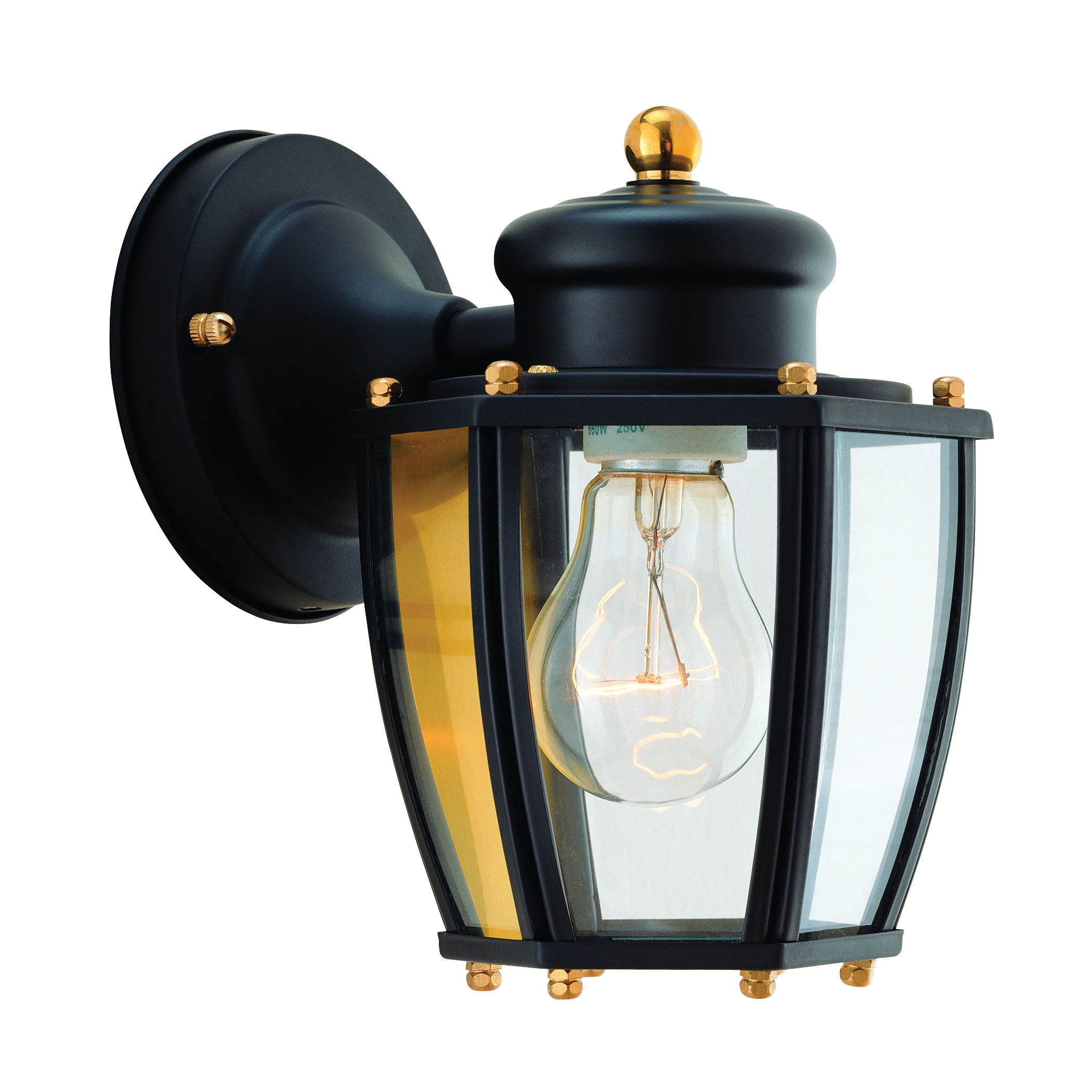 Picture of Boston Harbor HV-66961-BK Porch Light Fixture, CFL Lamp, Steel Fixture, Black