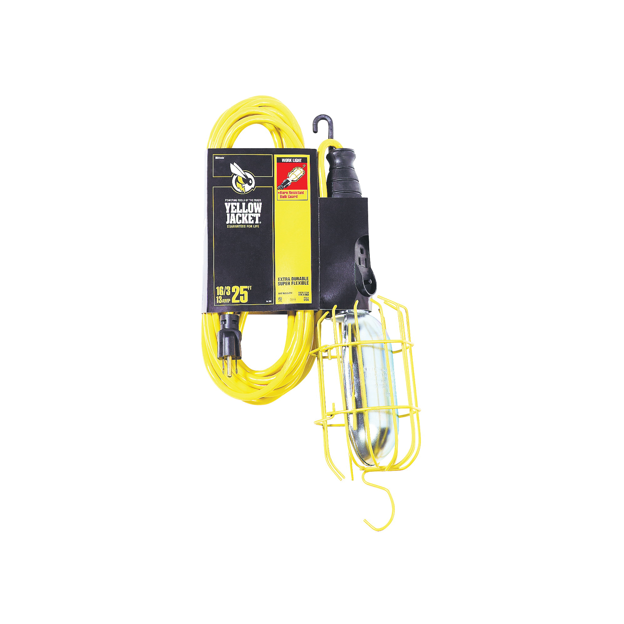 Picture of CCI 2893 Work Light with Outlet and Metal Guard, 12 A, 120 V, Incandescent Lamp, Yellow