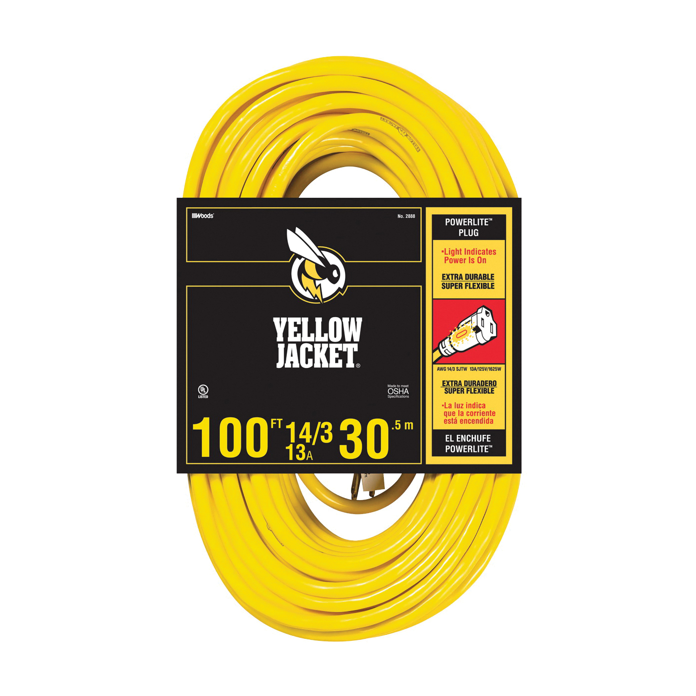 Picture of CCI 2888 Extension Cord, 14 AWG Cable, 100 ft L, 13 A, 125 V, Yellow Jacket