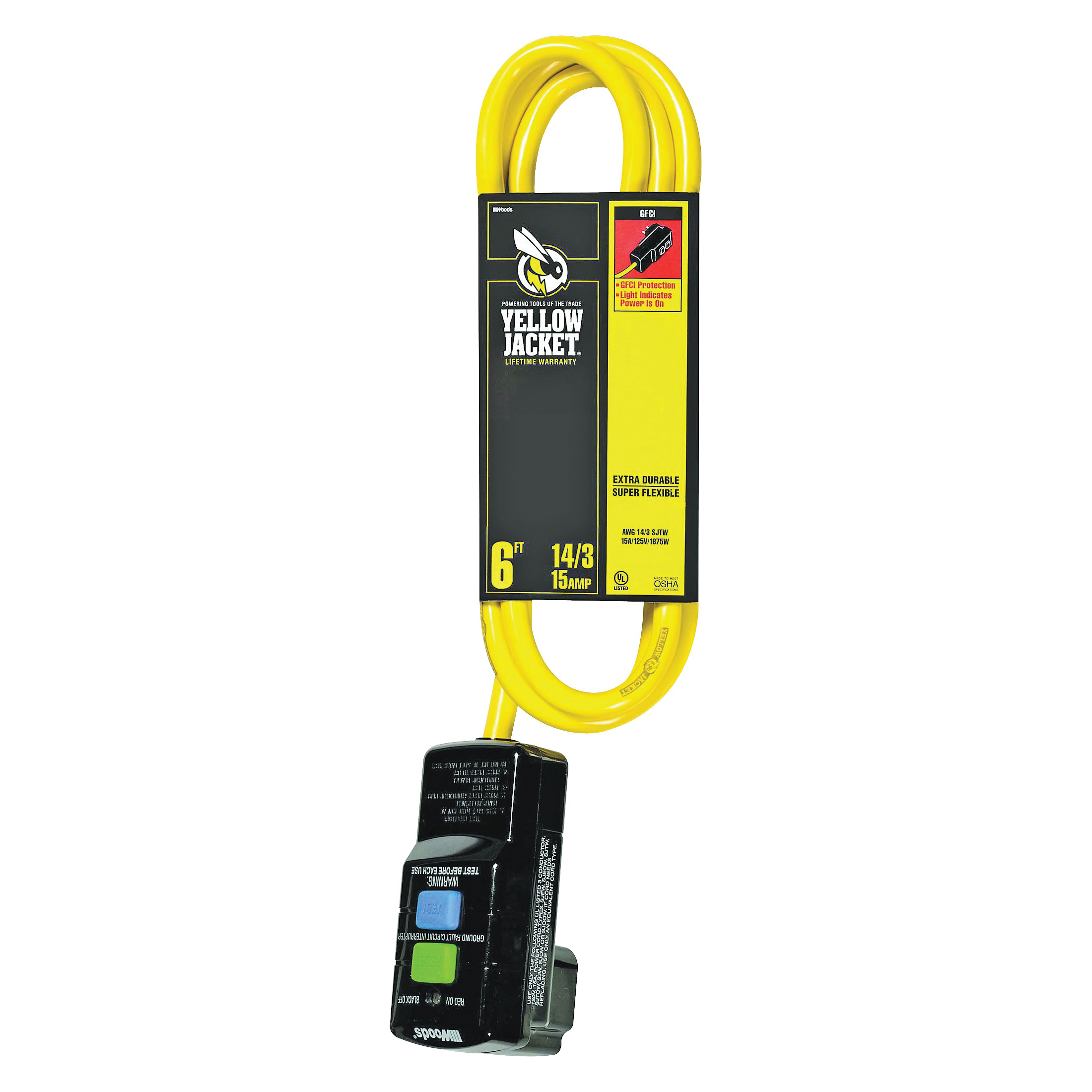 Picture of CCI 2879 Extension Cord, 6 ft L Cable, 15 A, 125 V, Yellow Jacket