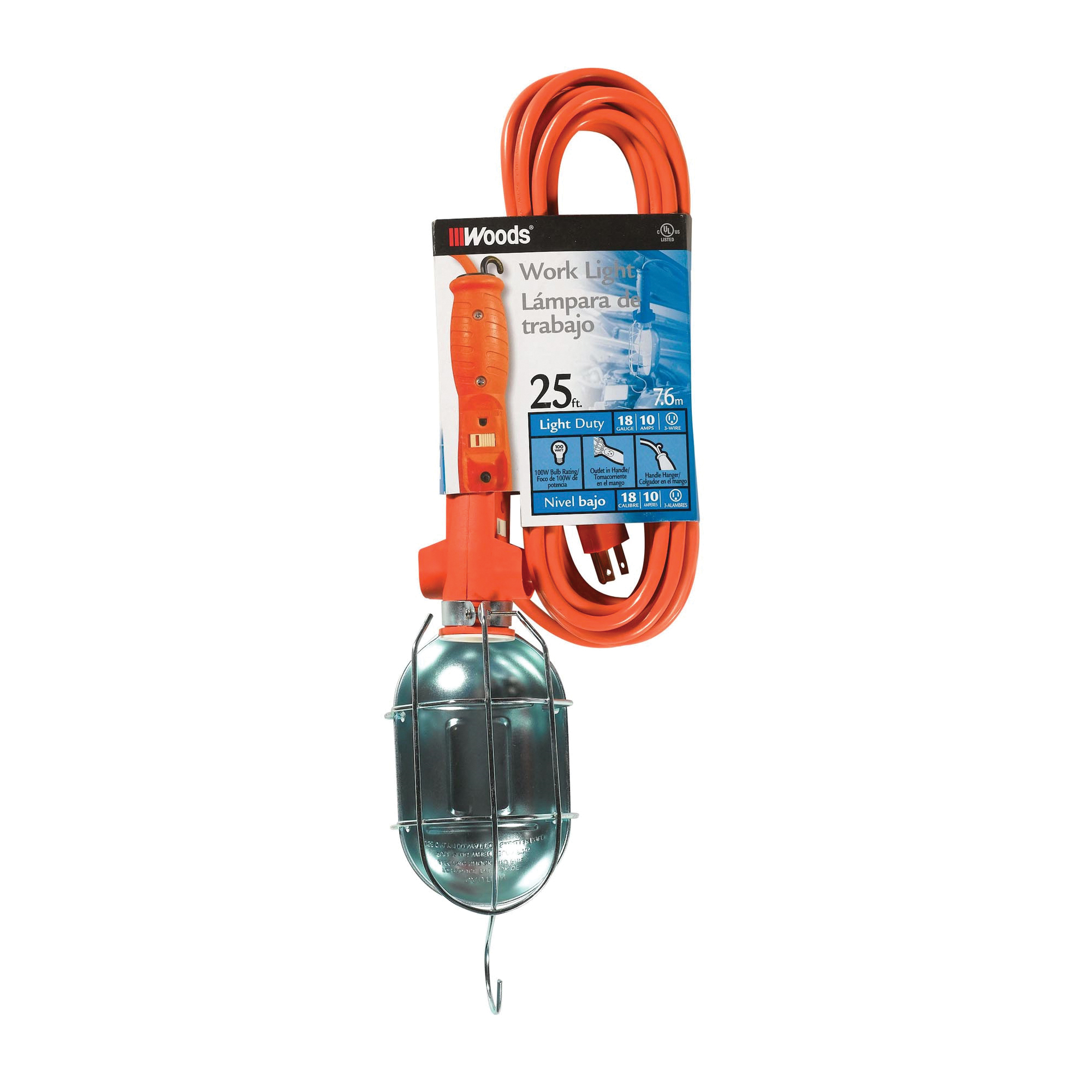 Picture of CCI 0681 Work Light with Outlet and Metal Guard, 9 A, 120 V, Orange