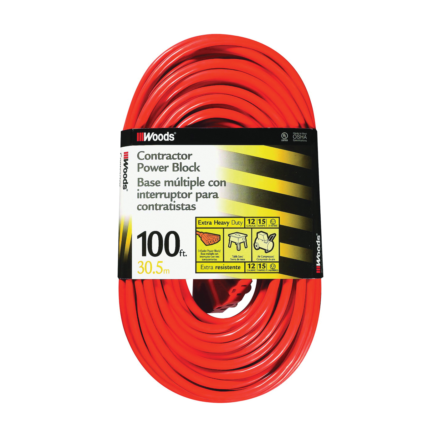 Picture of CCI 0820 Extension Cord, 12 AWG Cable, 100 ft L, 15 A, 125 V, Orange Jacket