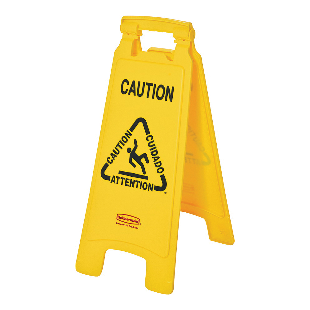 Picture of Rubbermaid FG611200 YEL Floor Sign, 11 in W, Yellow Background, Caution, English, French, Spanish