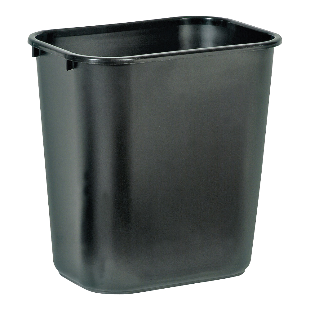 Picture of Rubbermaid 2956 Series 295600BLA Waste Basket, 28.125 qt Capacity, Rectangular, LDPE, Black, 10.2 in W, 14.4 in D