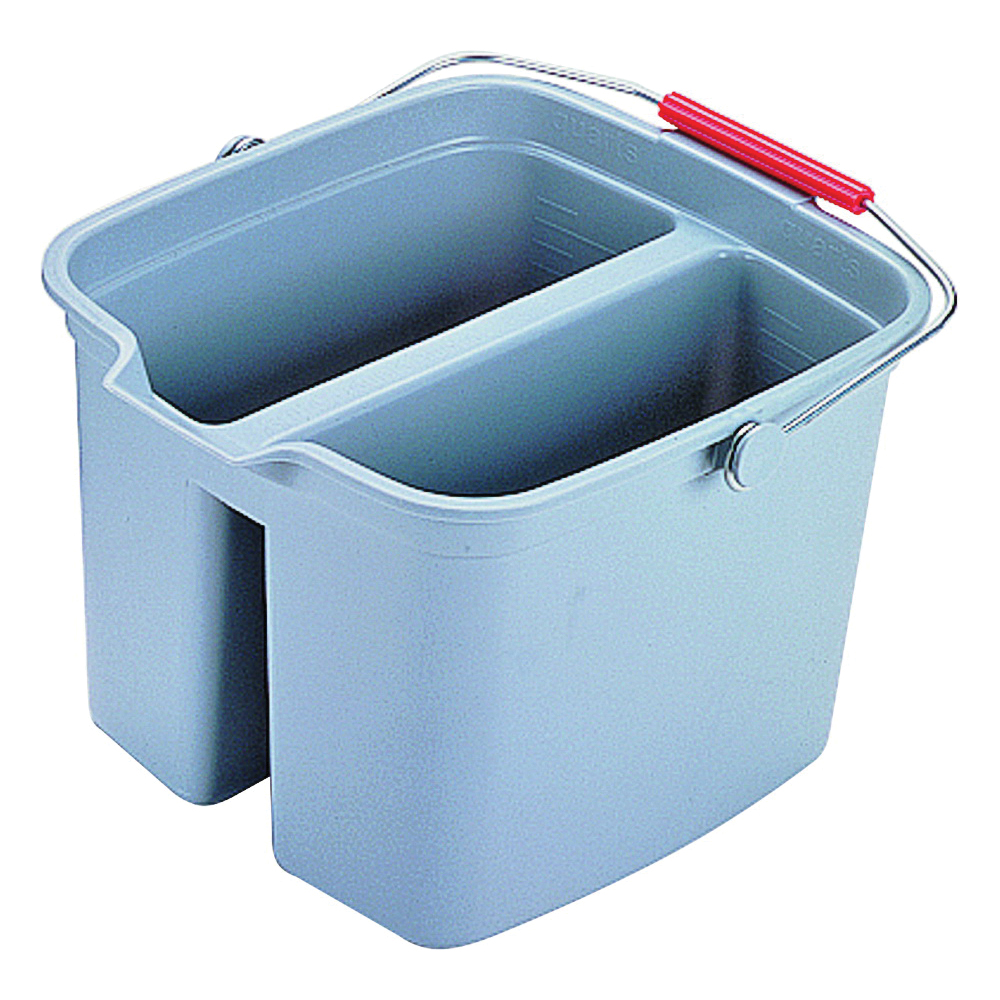 Picture of Rubbermaid 261700GRAY Double Bucket, 17 qt Capacity, Rectangular, Plastic Wringer, Gray