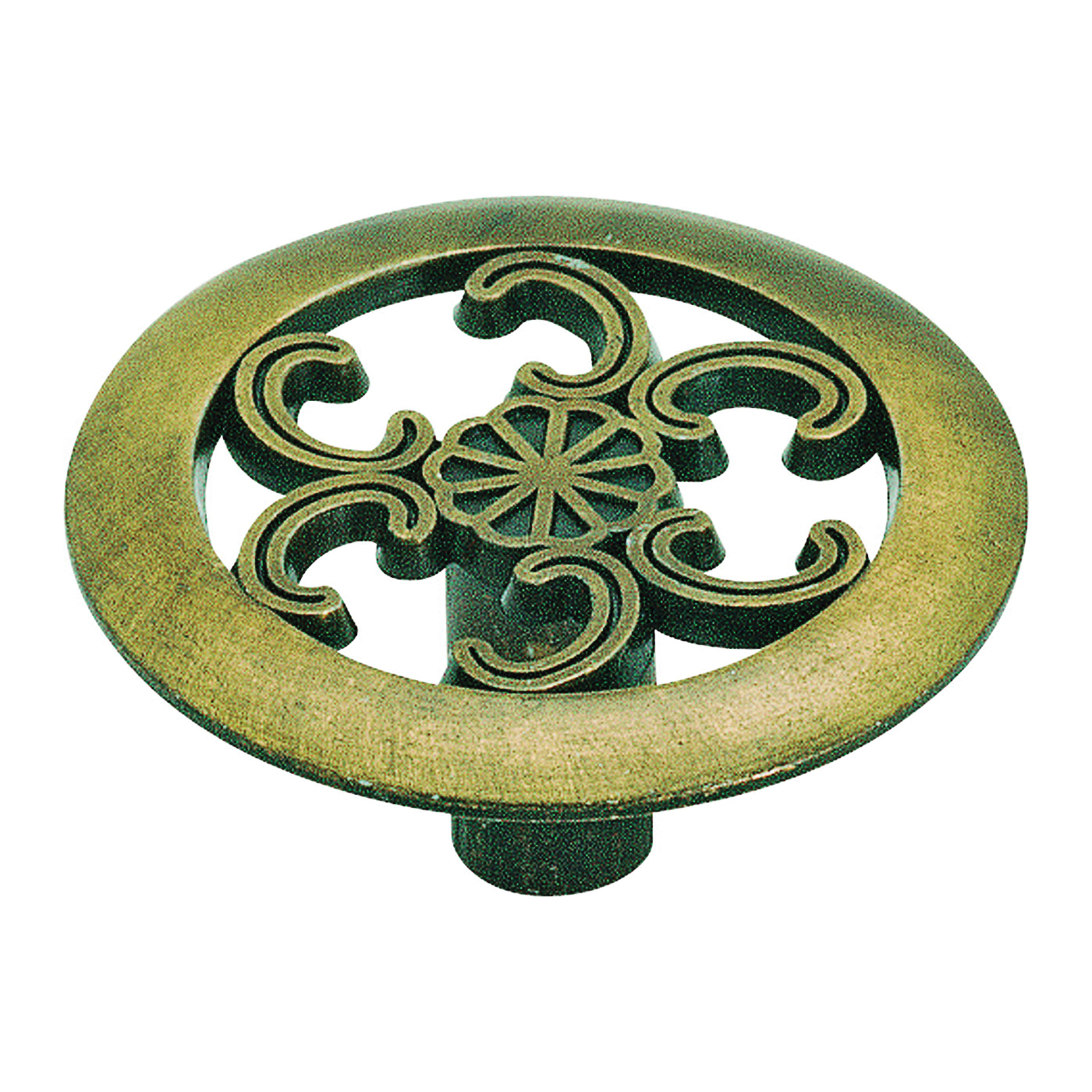 Picture of Amerock 890ABS Cabinet Knob, 3/4 in Projection, Zinc, Antique Brass