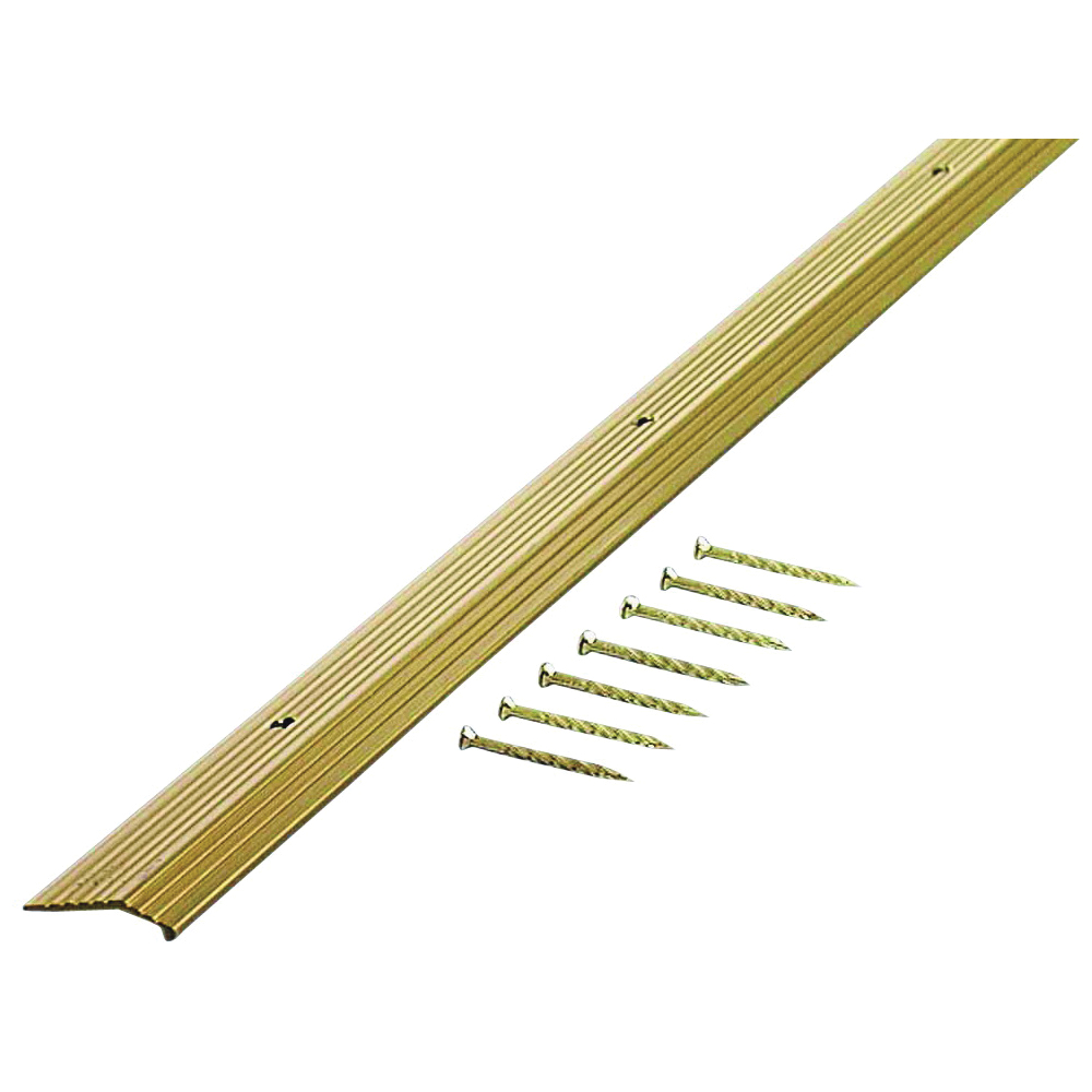 Picture of M-D 79004 Carpet Trim, 36 in L, 7/8 in W, Fluted Surface, Aluminum, Satin Brass