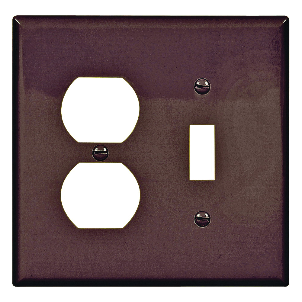 Picture of Eaton Wiring Devices PJ18B Wallplate, 4-7/8 in L, 4-15/16 in W, 2-Gang, Polycarbonate, Brown, High-Gloss