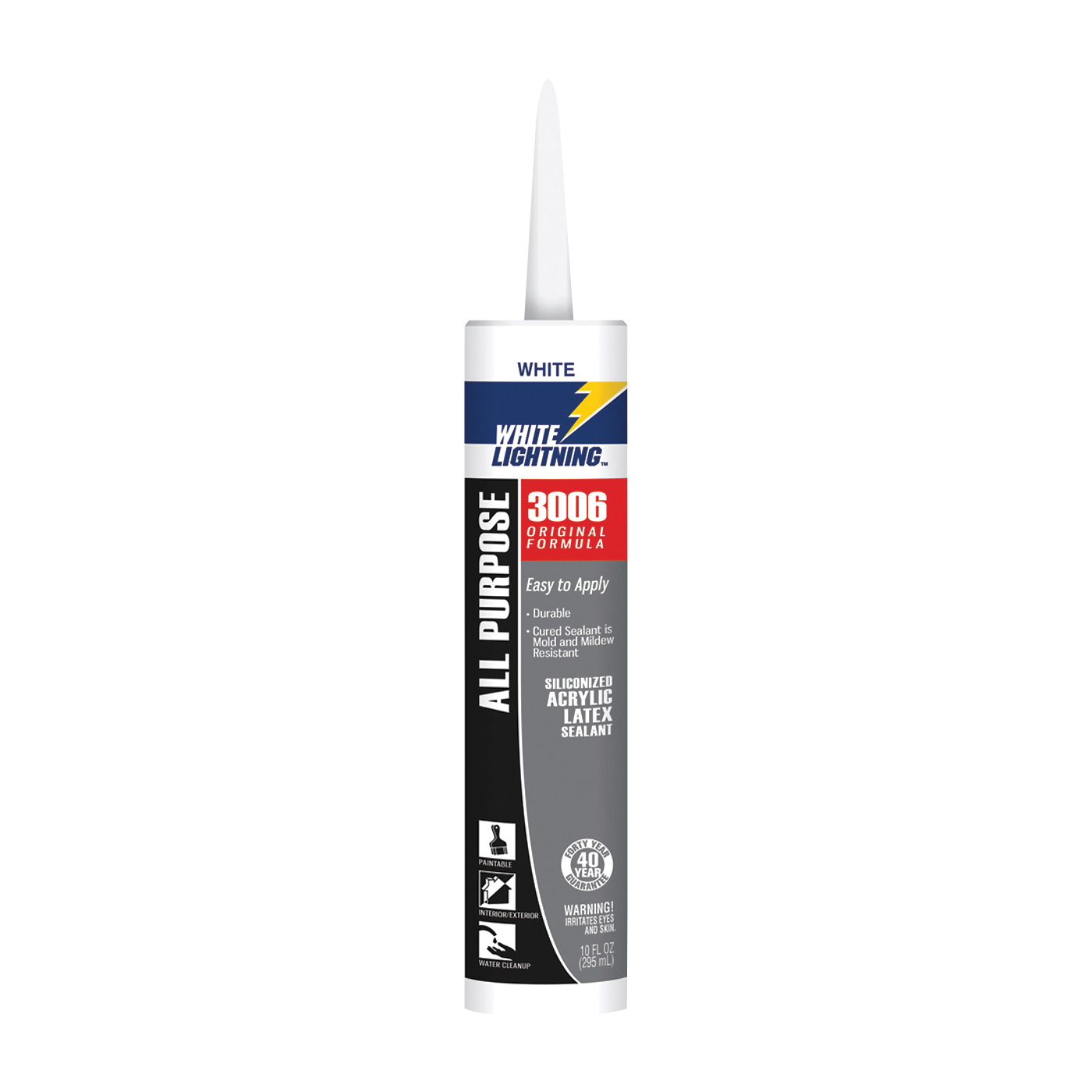 Picture of WHITE LIGHTNING W12AF0010 Adhesive Caulk, White, 5 to 7 days Curing, 40 deg F, 10 fl-oz Package, Cartridge