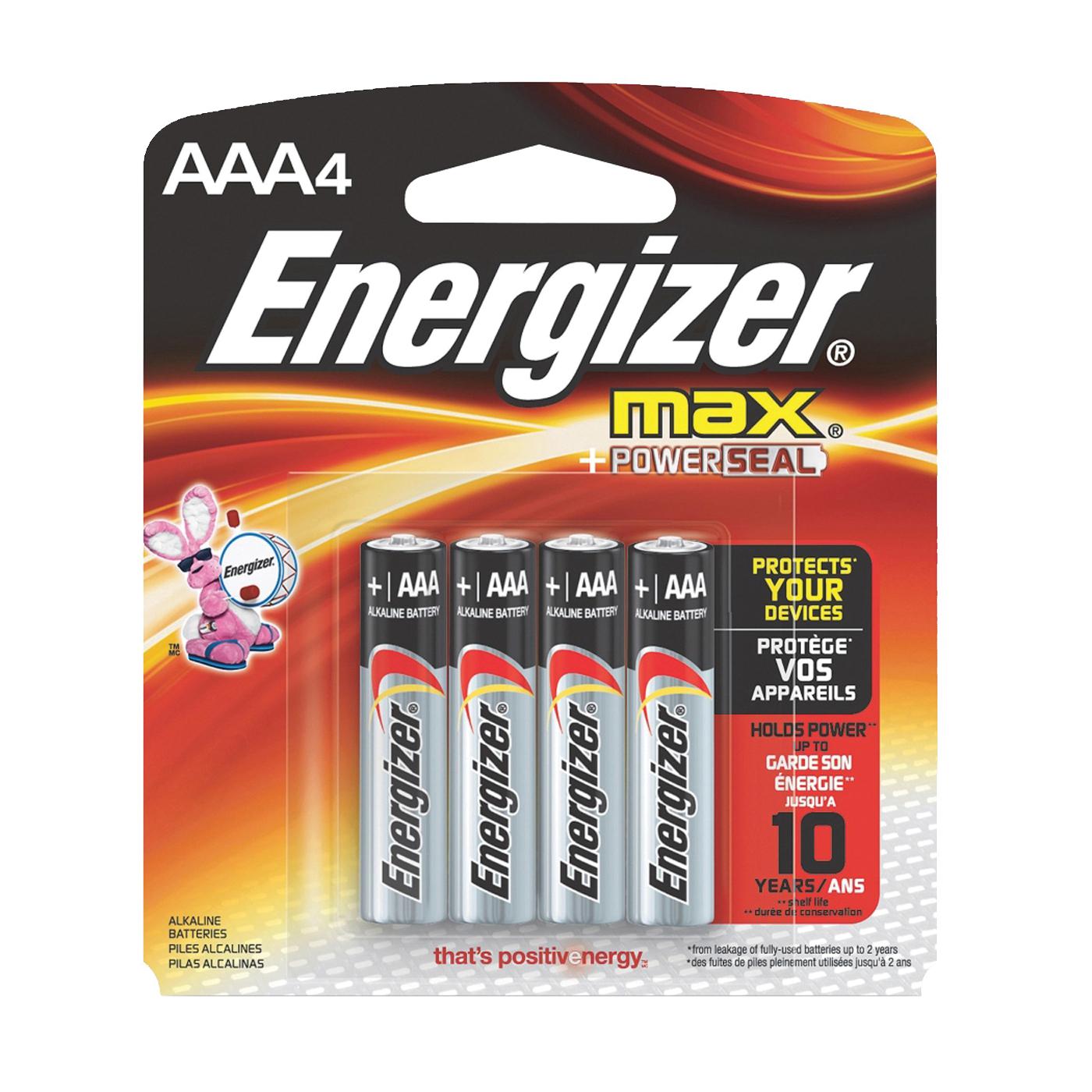 Picture of Energizer E92BP-4 Alkaline Battery, 1.5 V Battery, 1250 mAh, AAA Battery, Zinc, Manganese Dioxide, 4/PK