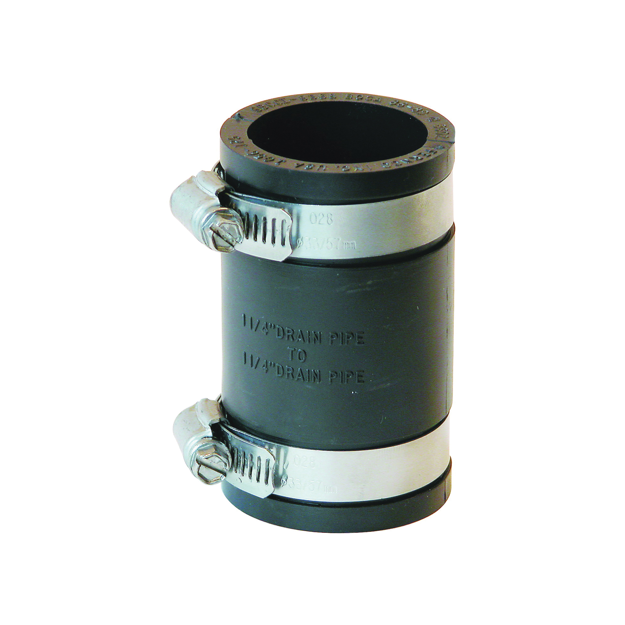 Picture of FERNCO P1056-125 Flexible Pipe Coupling, 1-1/4 in, PVC, Black, 4.3 psi Pressure