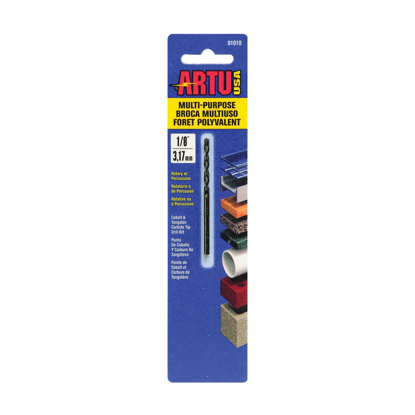 Picture of ARTU 01010 Drill Bit, 1/8 in Dia, 2-5/8 in OAL, Jobber Bit, Parabolic Flute, 1/8 in Dia Shank, Straight Shank