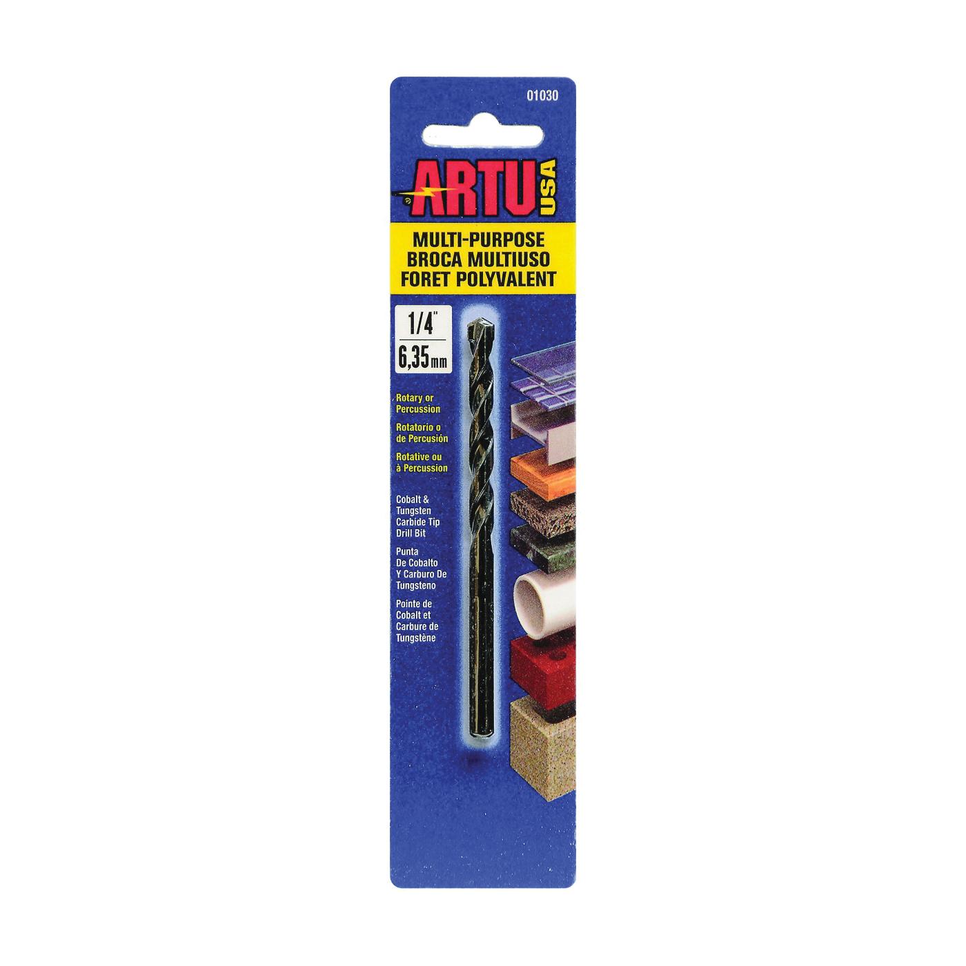 Picture of ARTU 01030 Drill Bit, 1/4 in Dia, 4-1/8 in OAL, Jobber Bit, Parabolic Flute, 1/4 in Dia Shank, Straight Shank