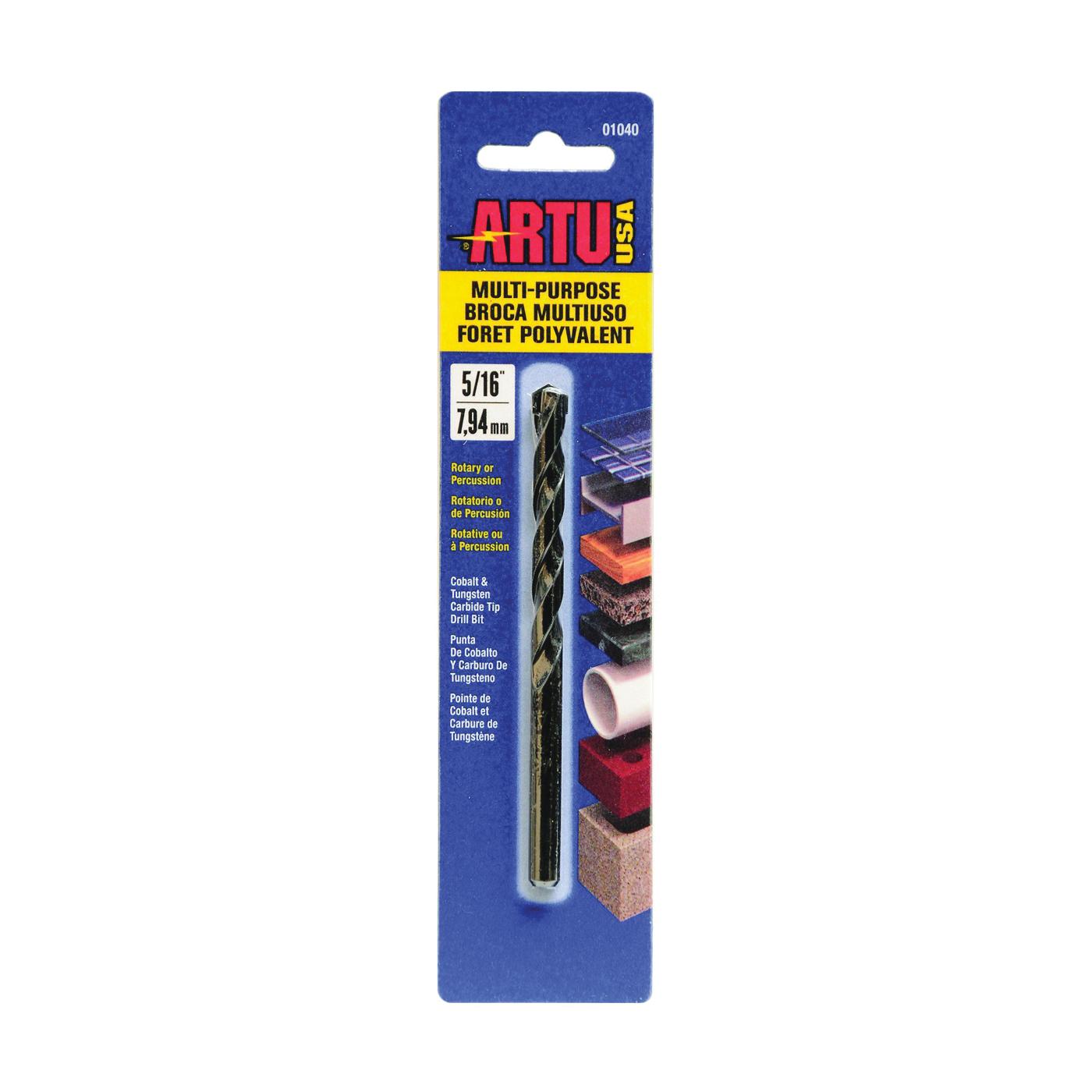 Picture of ARTU 01040 Drill Bit, 5/16 in Dia, 4-1/2 in OAL, Jobber Bit, Parabolic Flute, 5/16 in Dia Shank, Straight Shank