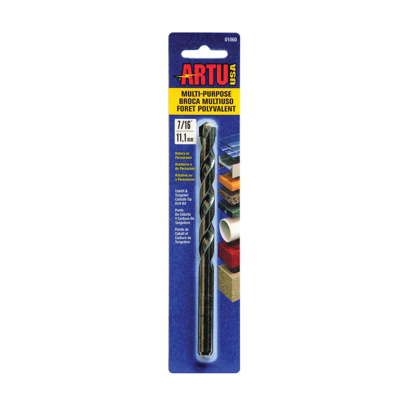 Picture of ARTU 01060 Drill Bit, 7/16 in Dia, 6-1/8 in OAL, Jobber Bit, Parabolic Flute, 3/8 in Dia Shank, Reduced Shank