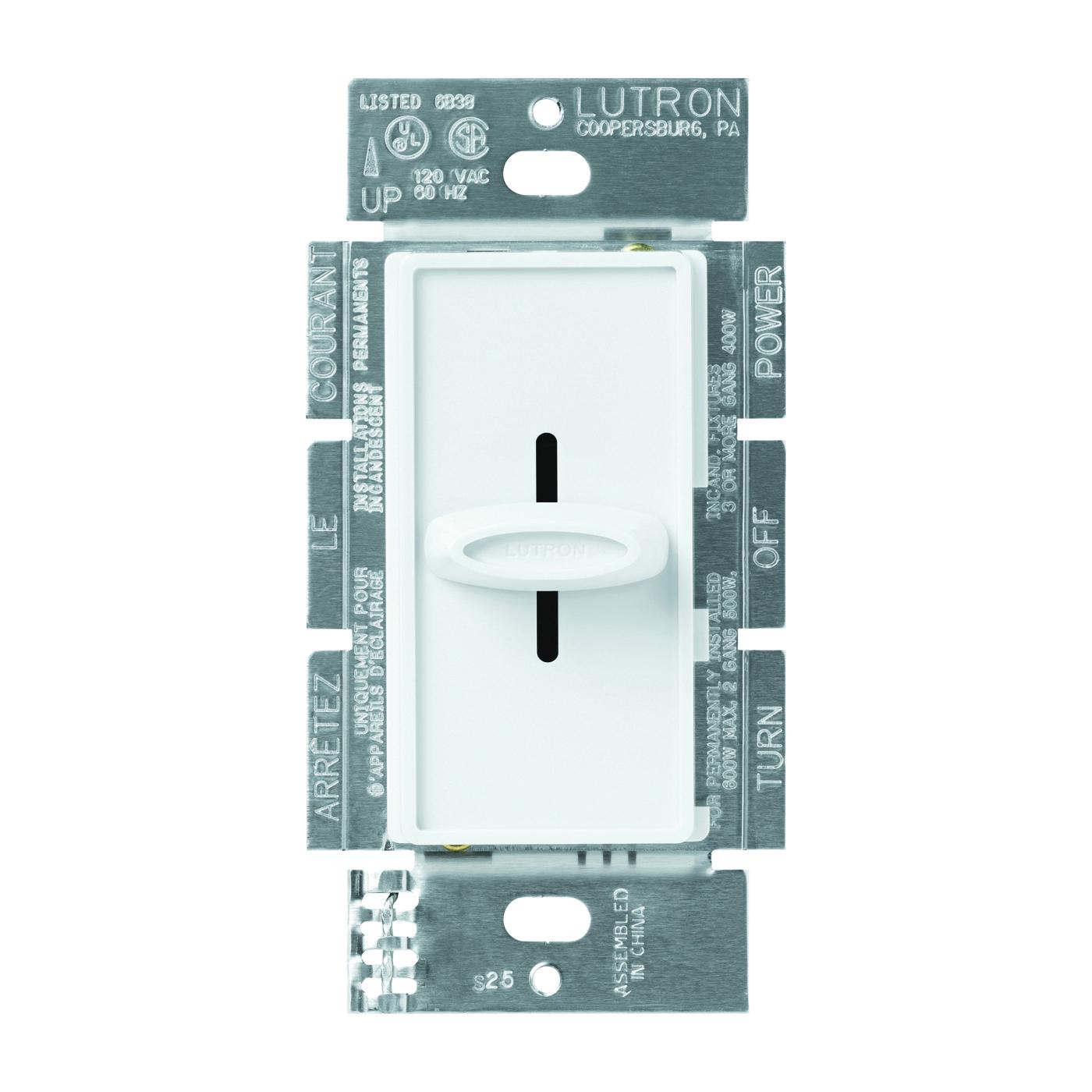 Picture of Lutron Skylark S-600H-WH Dimmer, 5 A, 120 V, 600 W, Halogen, Incandescent Lamp, White