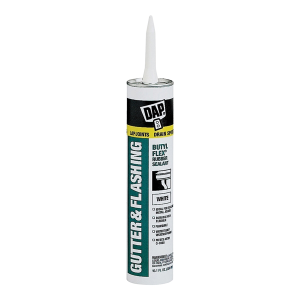 Picture of DAP BUTYL-FLEX 18184 Gutter and Flashing Sealant, White, Paste, 10.1 fl-oz Package, Cartridge