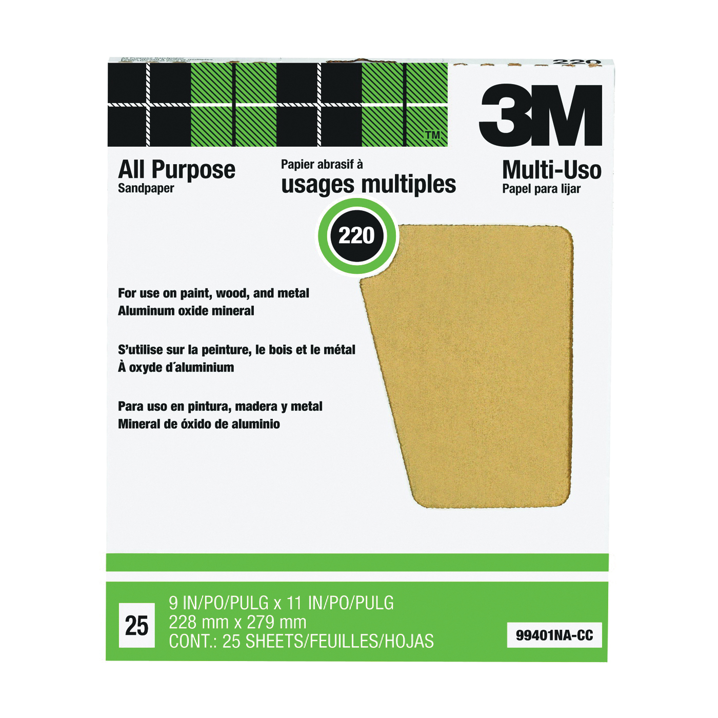 Picture of 3M 99401 Sanding Sheet, 11 in L, 9 in W, Very Fine, 220 Grit, Aluminum Oxide Abrasive, Paper Backing