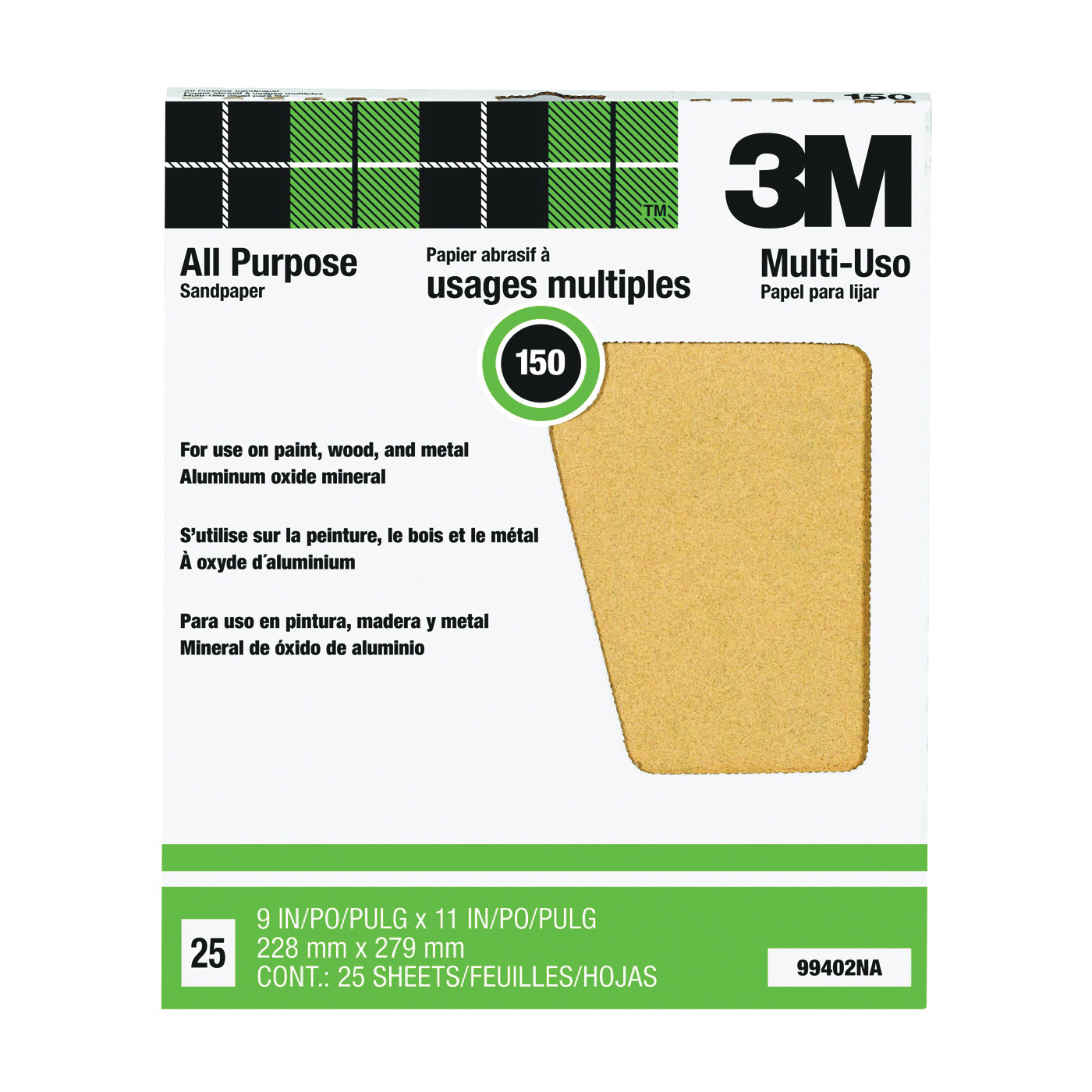 Picture of 3M 99402 Sanding Sheet, 11 in L, 9 in W, Fine, 150 Grit, Aluminum Oxide Abrasive, Paper Backing