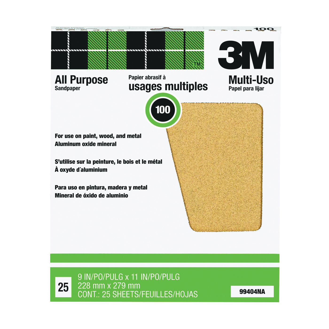 Picture of 3M 99404 Sanding Sheet, 11 in L, 9 in W, Medium, 100 Grit, Aluminum Oxide Abrasive, Paper Backing