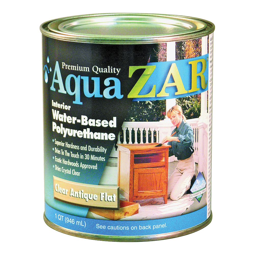 Picture of Aqua ZAR 34412 Polyurethane Paint, Liquid, Antique Crystal Clear, 1 qt, Can