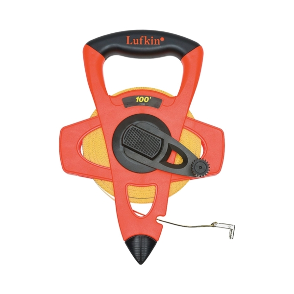 Picture of Crescent Lufkin FE100 Tape Measure, 100 ft L Blade, 1/2 in W Blade, Fiberglass Blade, ABS Case, Orange Case