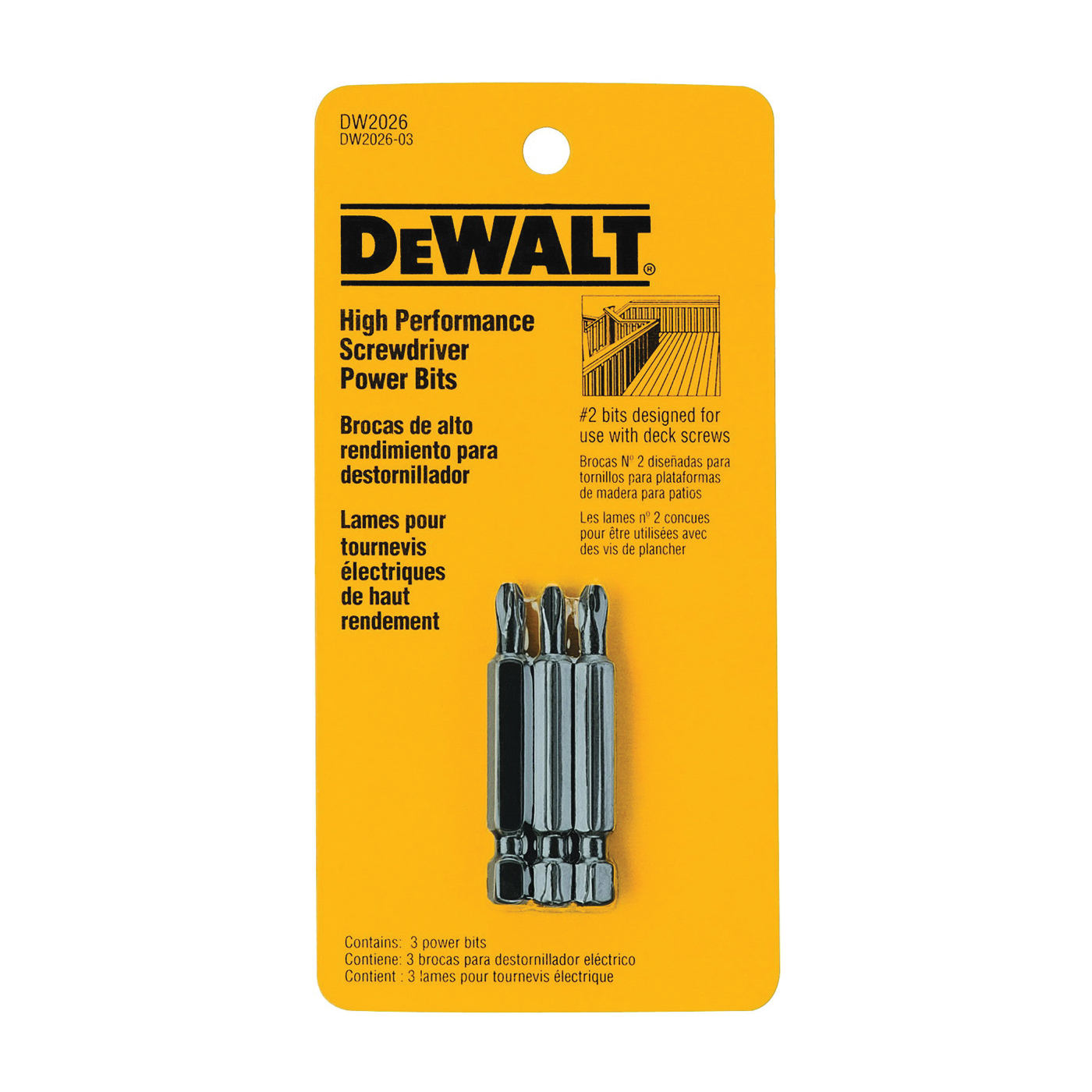Picture of DeWALT DW2026 Z Power Bit, #2 Drive, Phillips Drive, 1/4 in Shank, Hex Shank, 2 in L, Steel