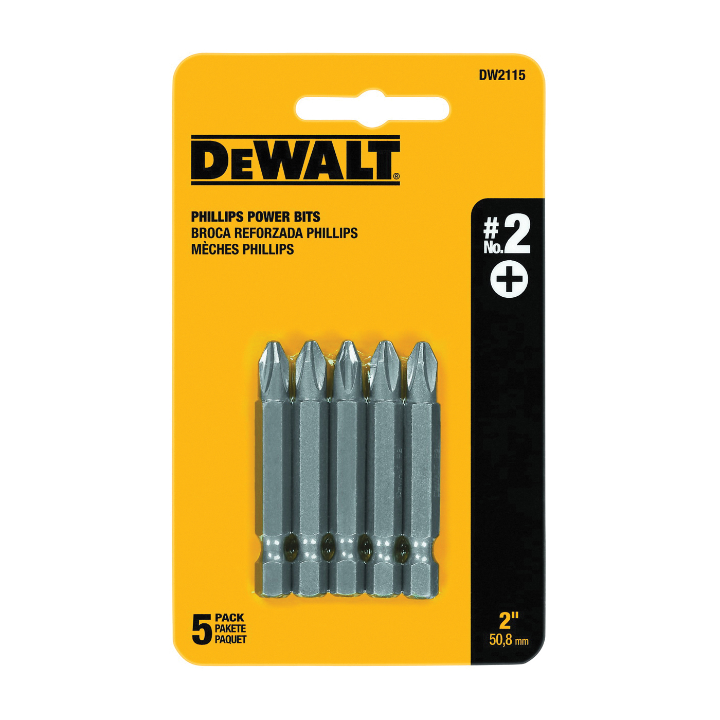 Picture of DeWALT DW2115 Power Bit, #2 Drive, Phillips Drive, 1/4 in Shank, Hex Shank, 2 in L, Tool Steel