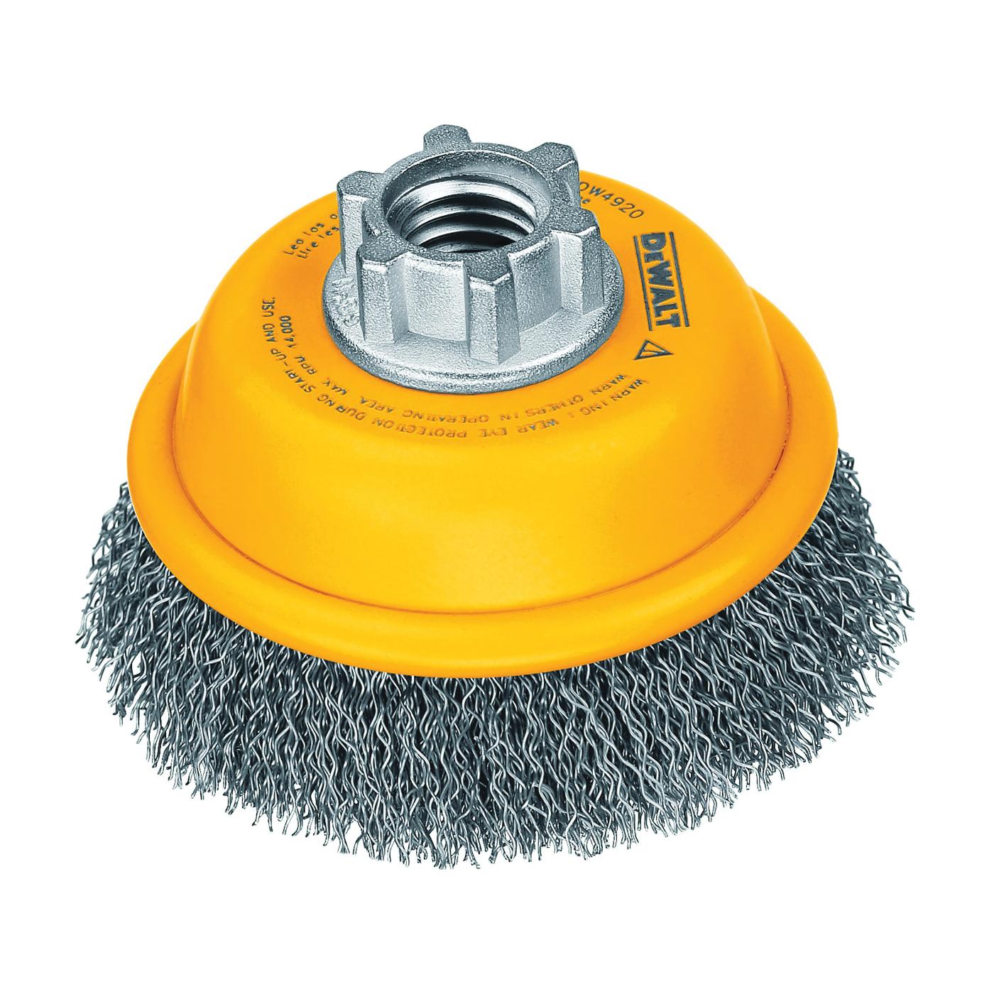 Picture of DeWALT DW4920 Wire Cup Brush, 3 in Dia, 5/8-11 Arbor/Shank, 0.014 in Dia Bristle
