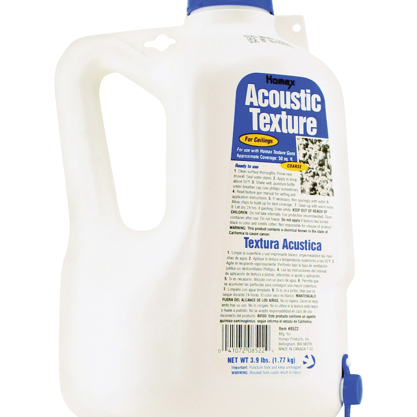 Picture of Homax 8522 Ceiling Texture, Liquid, Solvent, White, 2.2 L Package, Bottle