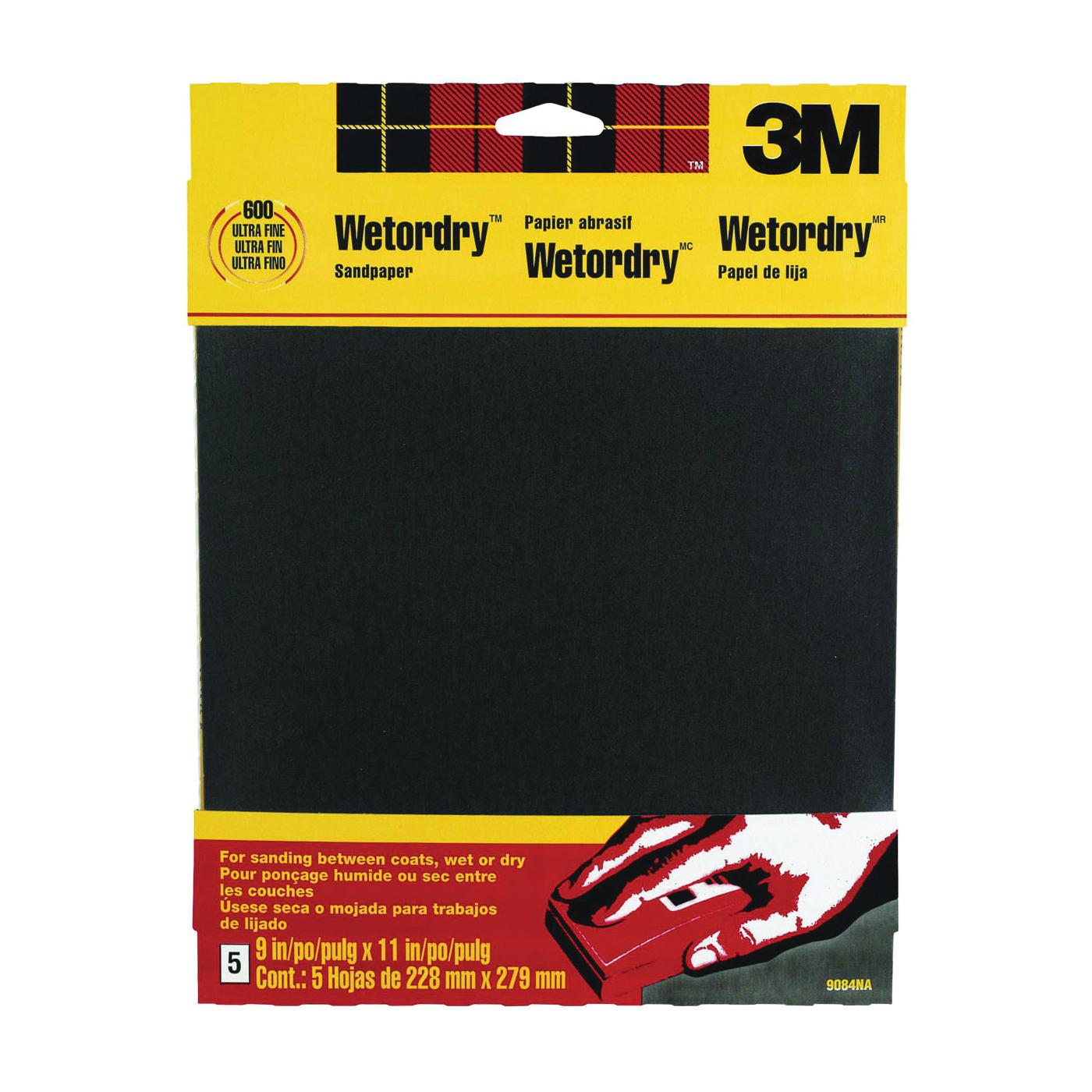 Picture of 3M 9084 Sandpaper, 11 in L, 9 in W, 600 Grit, Ultra Fine, Silicone Carbide Abrasive