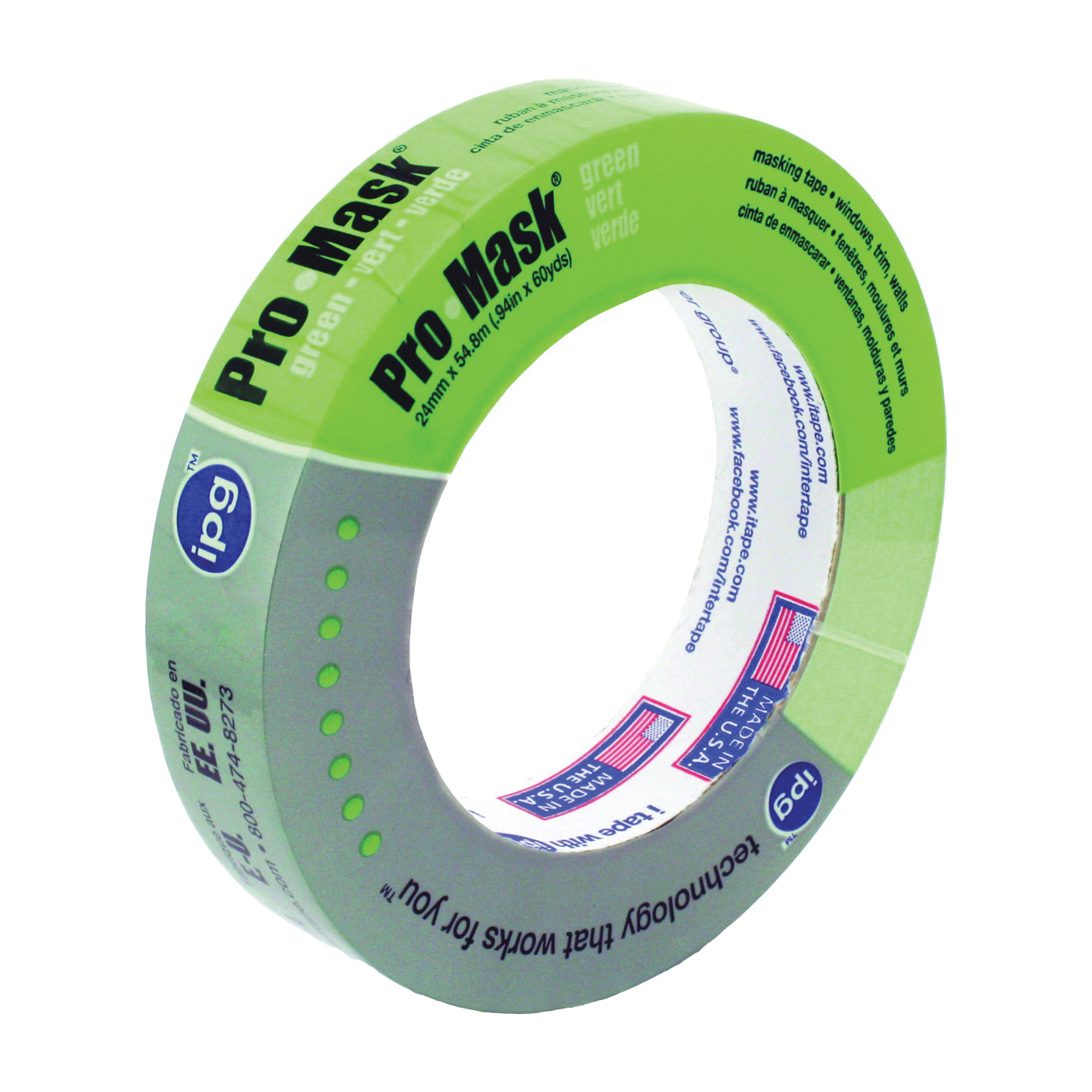 Picture of IPG 5803-1 Masking Tape, 60 yd L, 0.94 in W, Crepe Paper Backing, Light Green