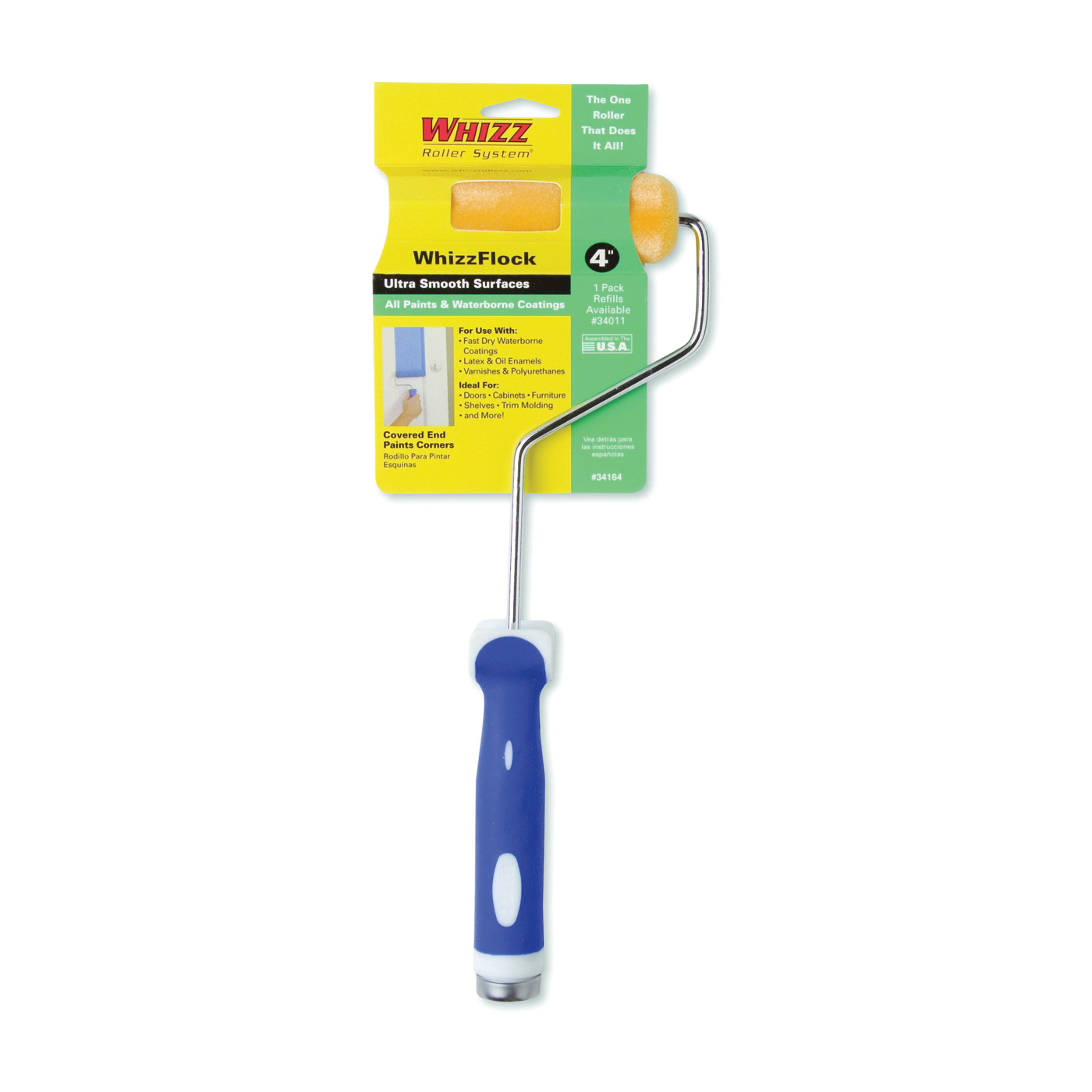 Picture of WHIZZ 34164 Mini Roller, Flock Roller, Soft Touch Handle, 4 in L Roller