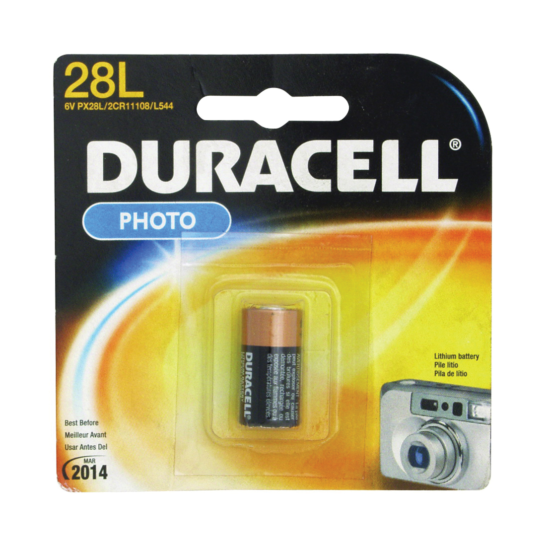 Picture of DURACELL PX28LBPK Lithium Battery, 6 V Battery, 160 mAh, PX28L Battery, Lithium, Manganese Dioxide, Carton