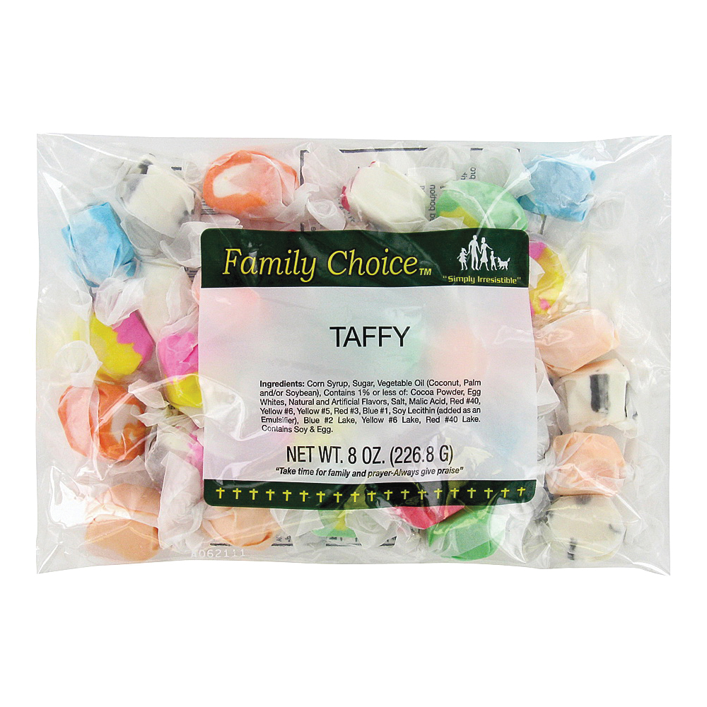 Picture of Family Choice 1168 Taffy Candy, Assorted Fruits Flavor, 7 oz Package