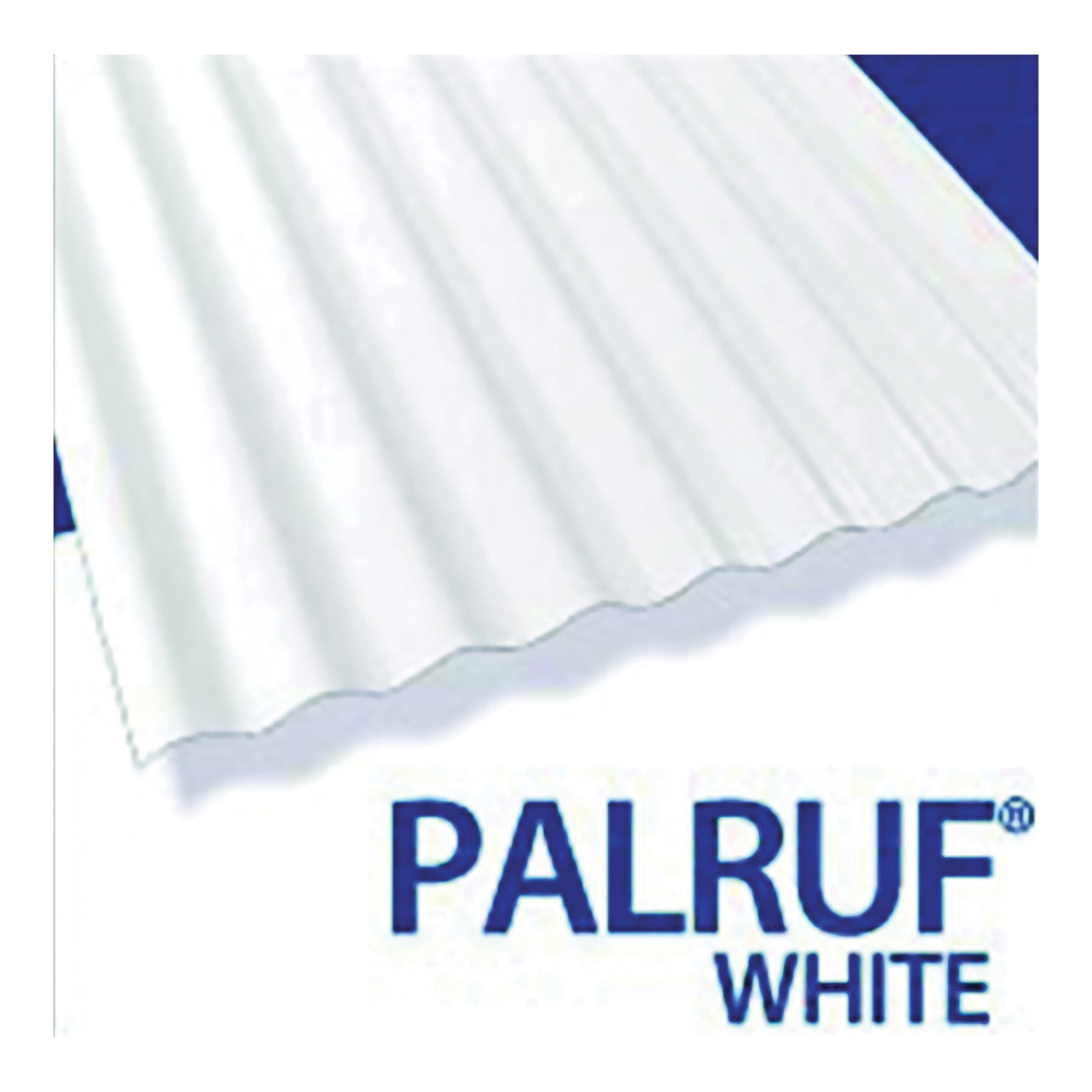 Picture of Palruf 101339 Corrugated Roofing Panel, 12 ft L, 26 in W, PVC, White