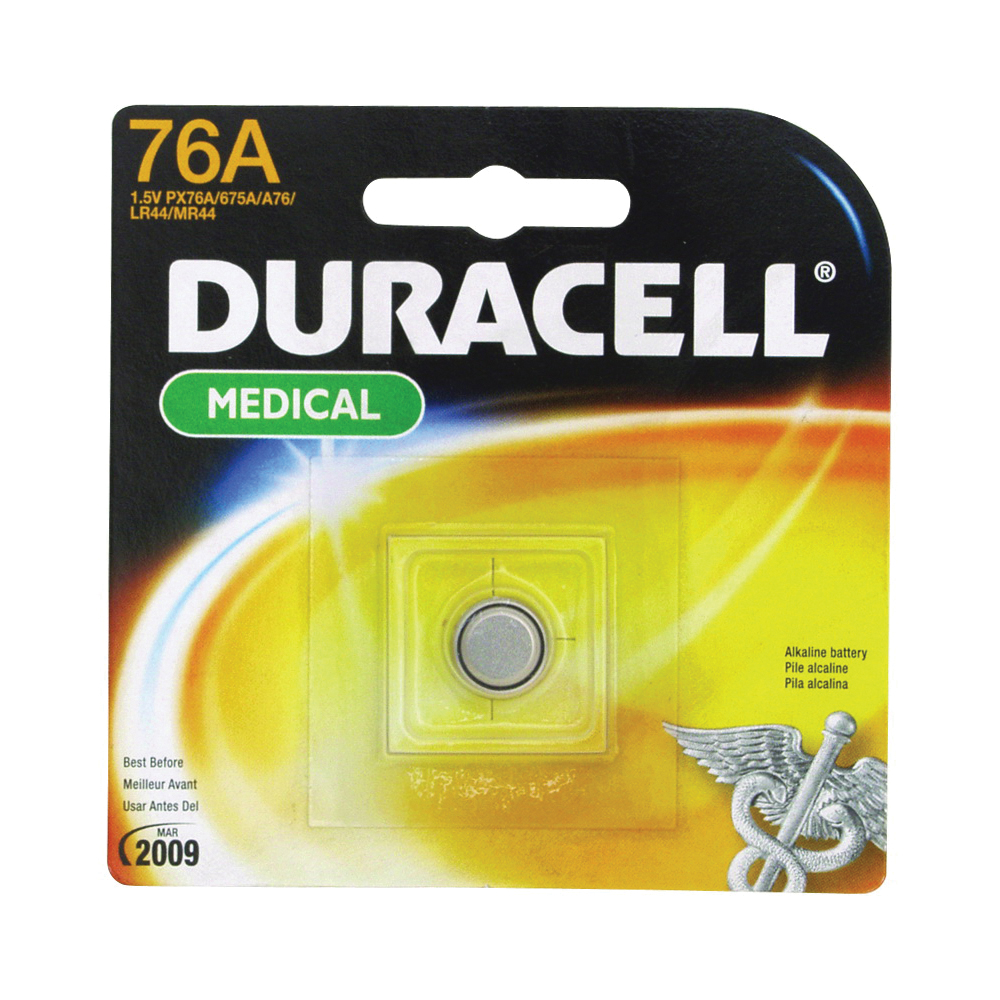 Picture of DURACELL PX76A675PK Alkaline Battery, 1.5 V Battery, 190 mAh, A76 Battery, Lithium, Manganese Dioxide