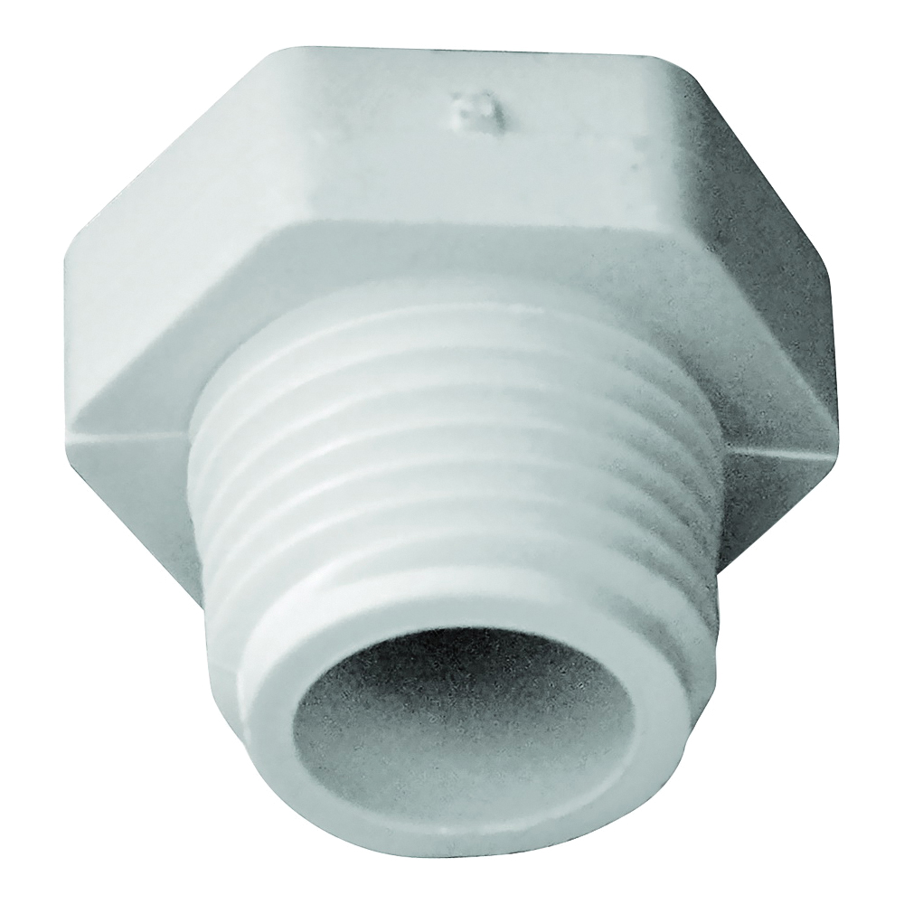 Picture of GENOVA 31805 Pipe Plug, 1/2 in, MIP, PVC, White, SCH 40 Schedule
