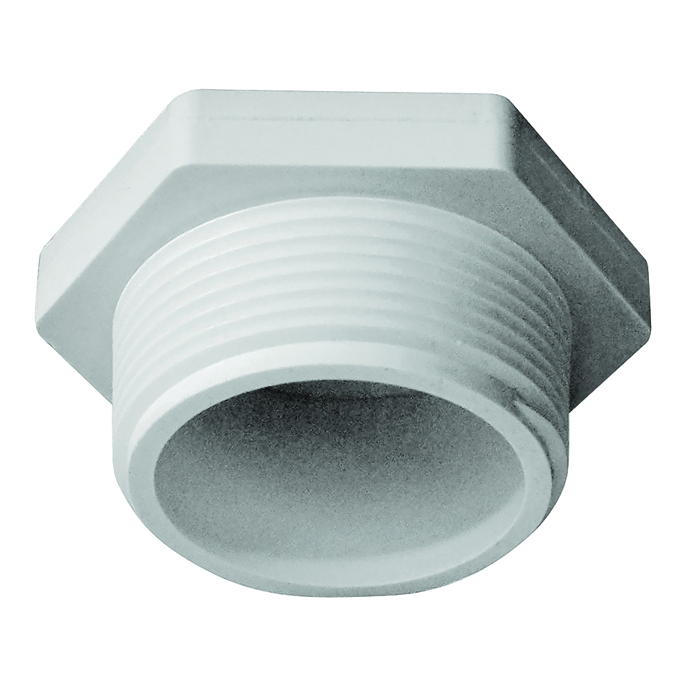 Picture of GENOVA 31815 Pipe Plug, 1-1/2 in, MIP, PVC, White, SCH 40 Schedule