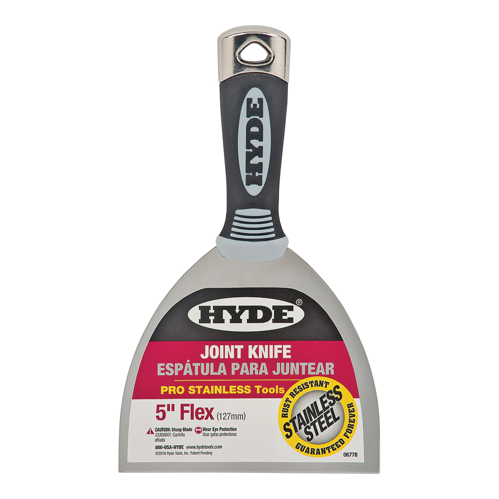 Picture of HYDE 06778 Joint Knife, 5 in W Blade, 4-1/8 in L Blade, Stainless Steel Blade, Single-Edge Blade, Soft-Grip Handle